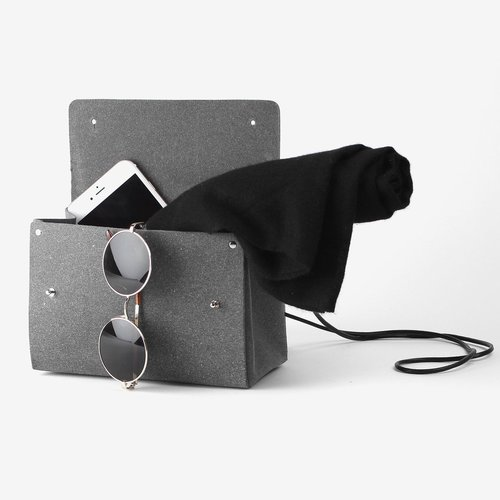 2.Triangle Bucket Bag in Stone Grey - by Walk with Me. I love that the texture and simplicity of this bag - and it's made from recycled leather!