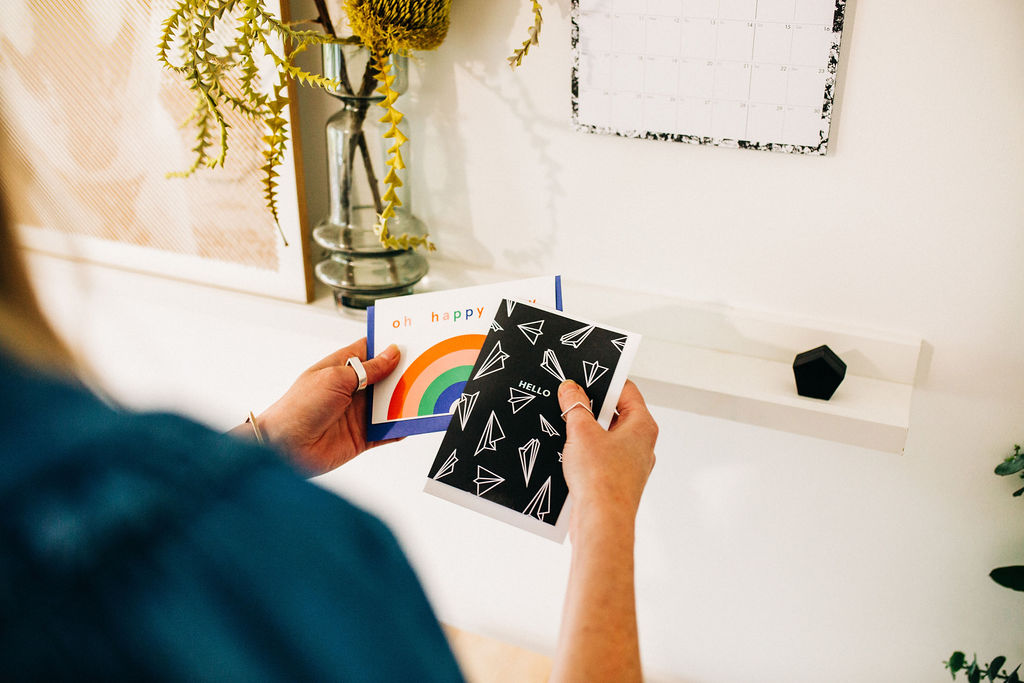 4. Quick changes - Use simple smaller items like cards to add quick pops of colour or some typography to your walls.Indie cards double up really well as a mini prints, and it's so easy to change the feel of the styling depending on the season, or how you want to feel.