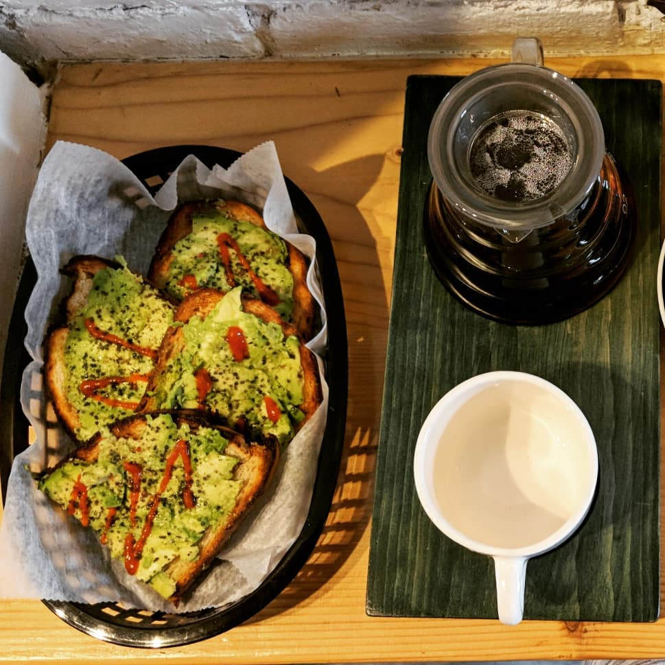 Spicy Smashed Avocado Toast and  Ethiopia Bokasso from  Elm Coffee Roasters