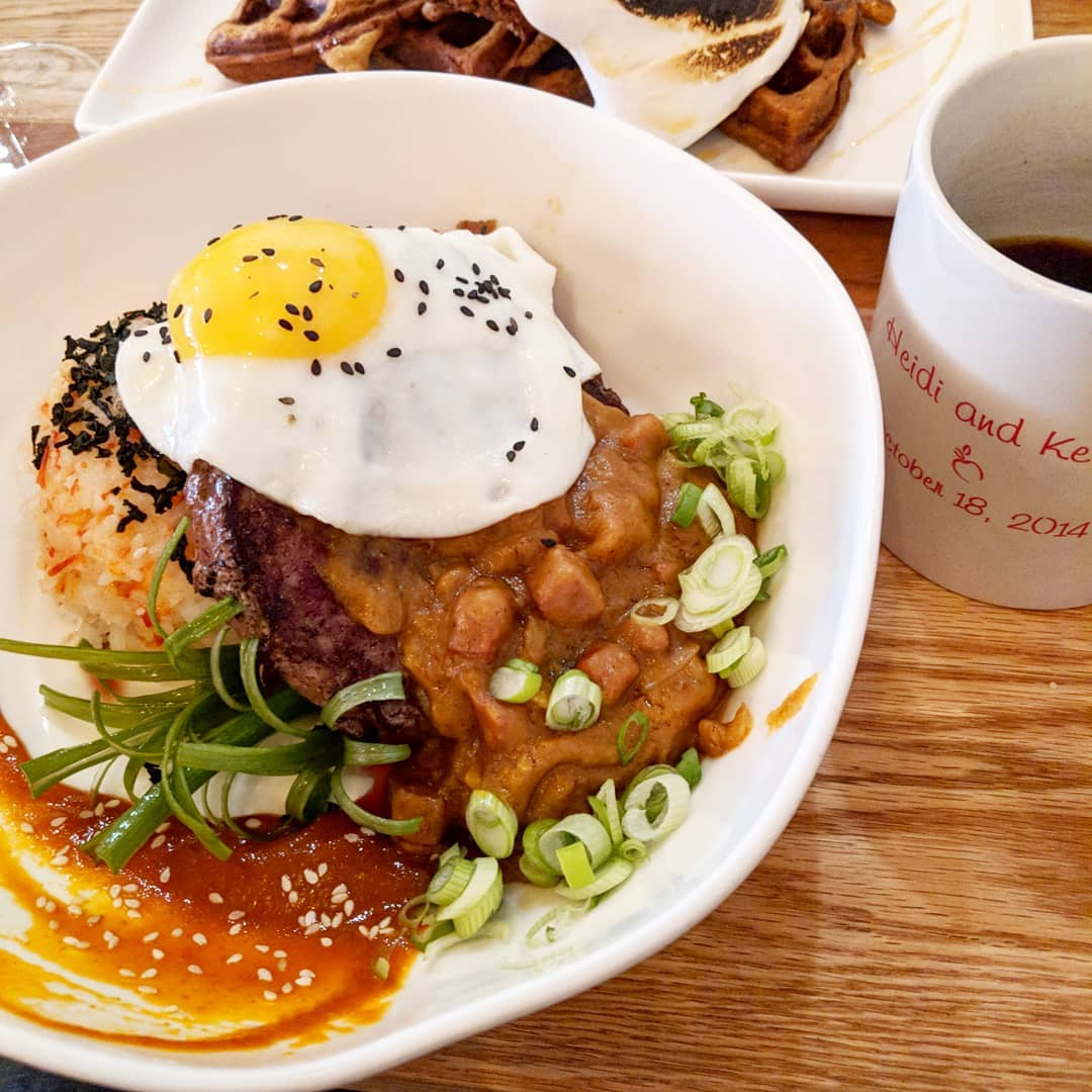 Loco Moco:  Angus Beef Patty, Calrose Rice, Portuguese Sausage Gravy, Onion Marmalade and Sunny Egg.