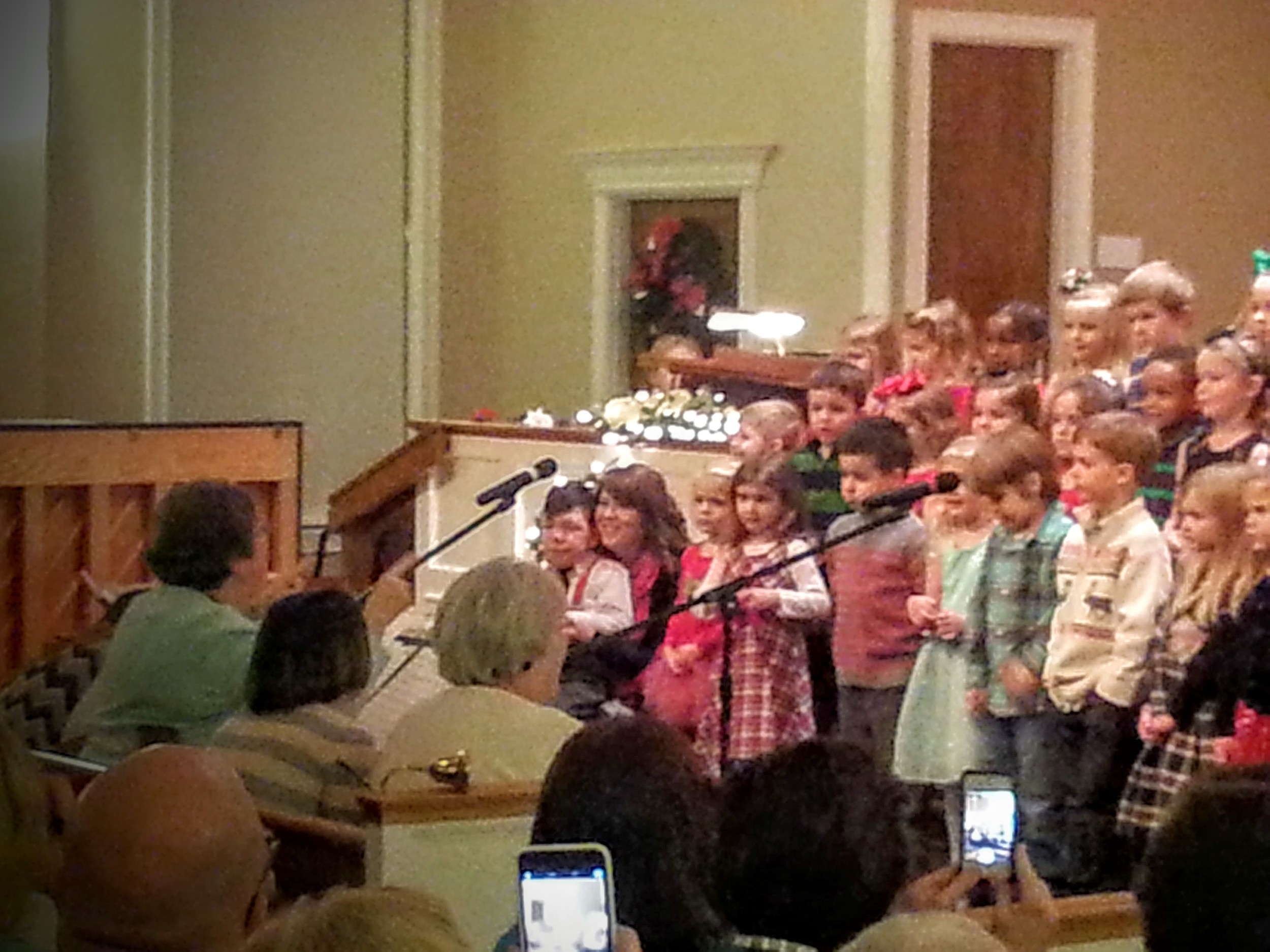 Christmas program 2: red suspenders and tie.