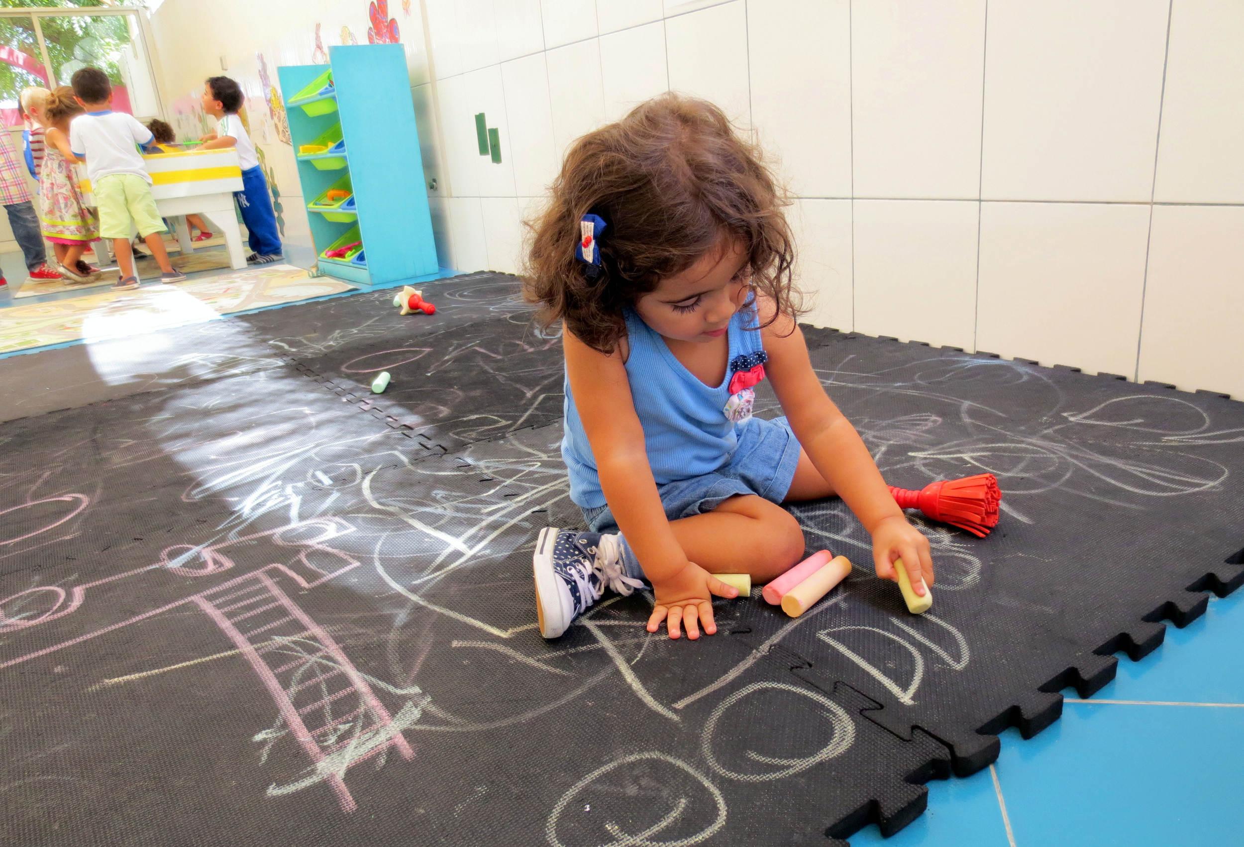 Chalkboard Drawing on Floor