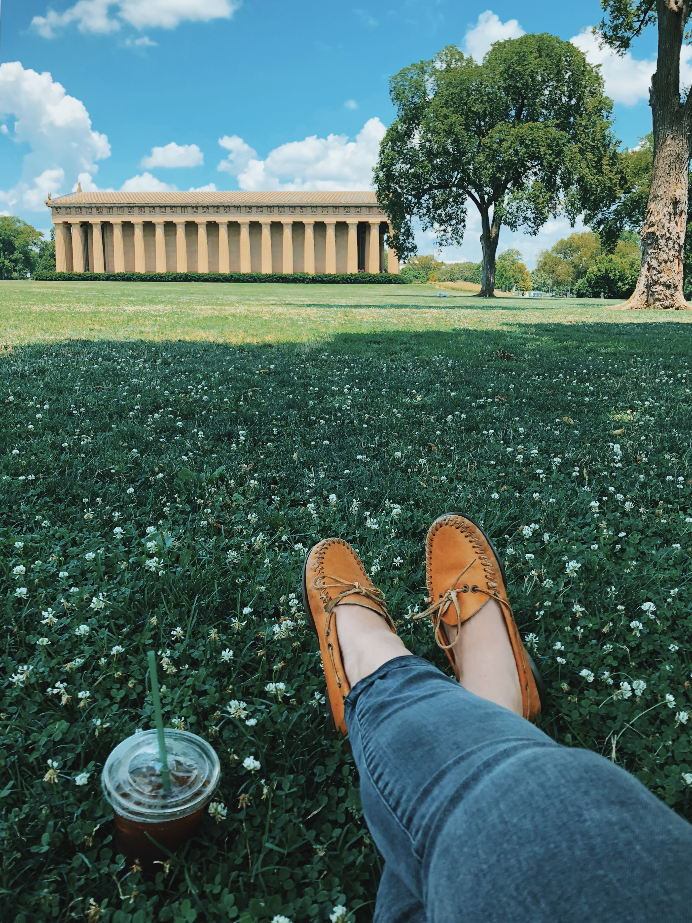 Centennial Park - One of our favorite moments of the trip had us stopping at Crema for a homemade chai latte and heading over to Centennial Park for a chill morning underneath the shade of a tree and views of the Parthenon.