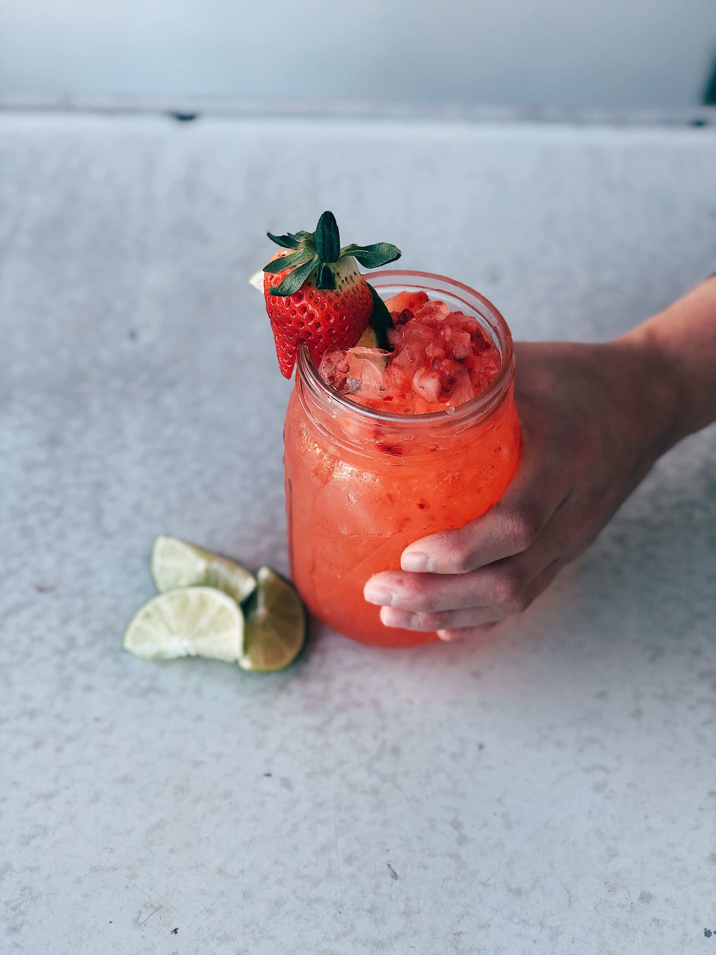 Strawberry Jam Daiquiri - Makes 1 drinkIngredients•1.5oz Santa Teresa rum•1oz Strawberry purée•1/2oz rich simple syrup•1/2 tsp of Strawberry Bourbon jam•Two lime wedges squeezed and more for garnish1. Shake all ingredients with ice until frothy.2. Strain into chilled glass with ice, and garnish with lime wedge!