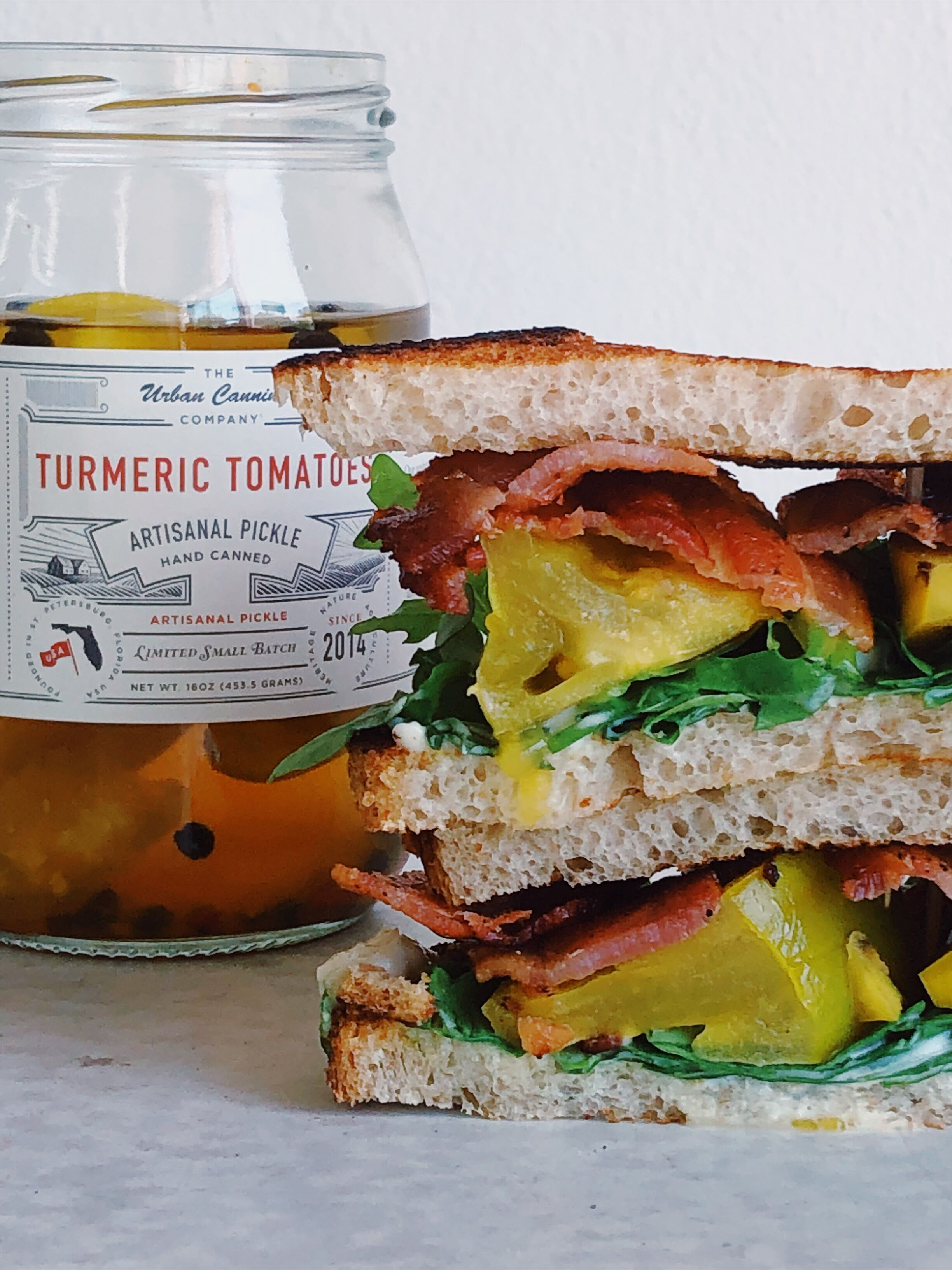 Turmeric Tomato BLT - Makes 1 sandwichIngredients:• sourdough bread• bacon fried to your liking• Turmeric Tomatoes• arugula• mayo•butter for toasting your bread (optional)1. Fry up your bacon in a cast iron pan and save the grease for toasting your bread.2. Toast sourdough bread in bacon grease, or with butter.3. Layer on mayo, arugula, Turmeric Tomatoes and bacon.4. Cut in half and enjoy!