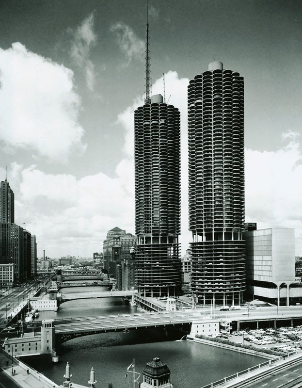 Marina City (project 1959 to 1967) by Chicago Architect Bertrand Goldberg