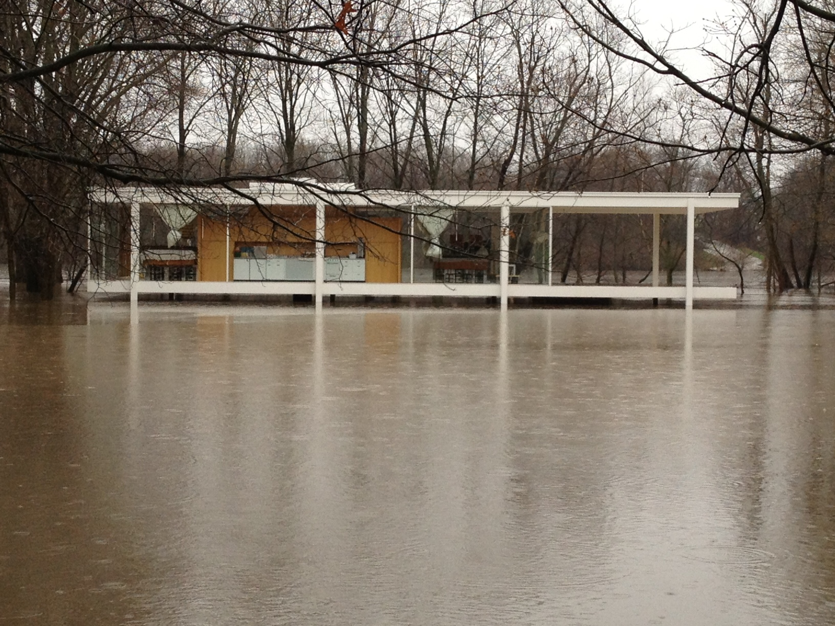Farnsworth House flooding on 4/18/13.Photo © National Trust for Historic Preservation