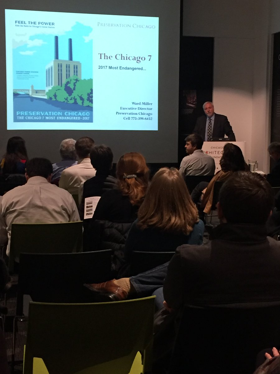 "Ward Miller, Preservation Chicago's Executive Director, presenting ""The Chicago 7"" Most Endangered List for 2017"