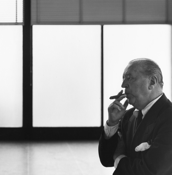 Ludwig Mies van der Rohe (1886 - 1969) in S.R. Crown Hall at IIT College of Architecture PHOTO: Hedrich Blessing