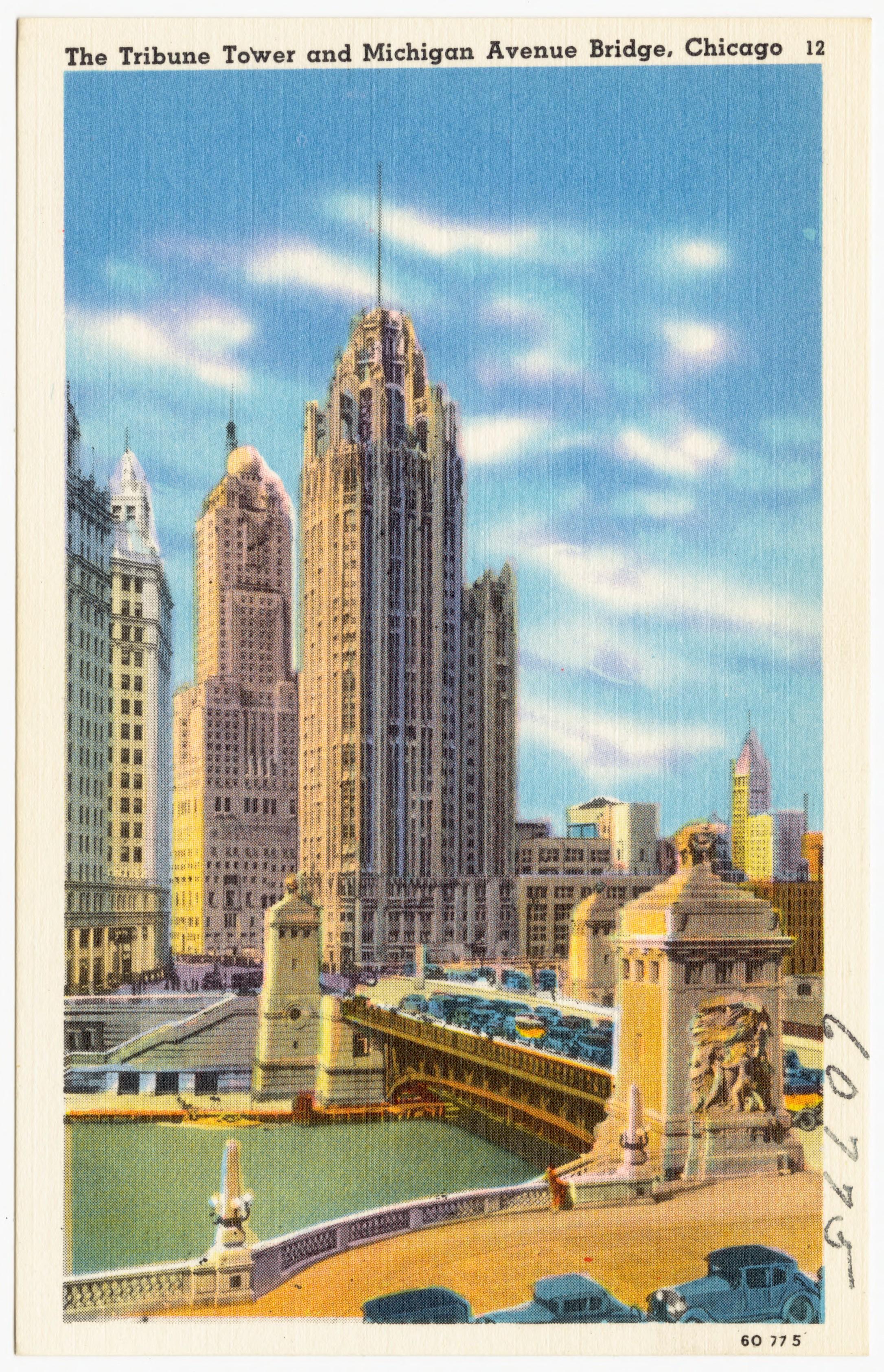 The_Tribune_Tower_and_Michigan_Avenue_Bridge,_Chicago_(60775).jpg