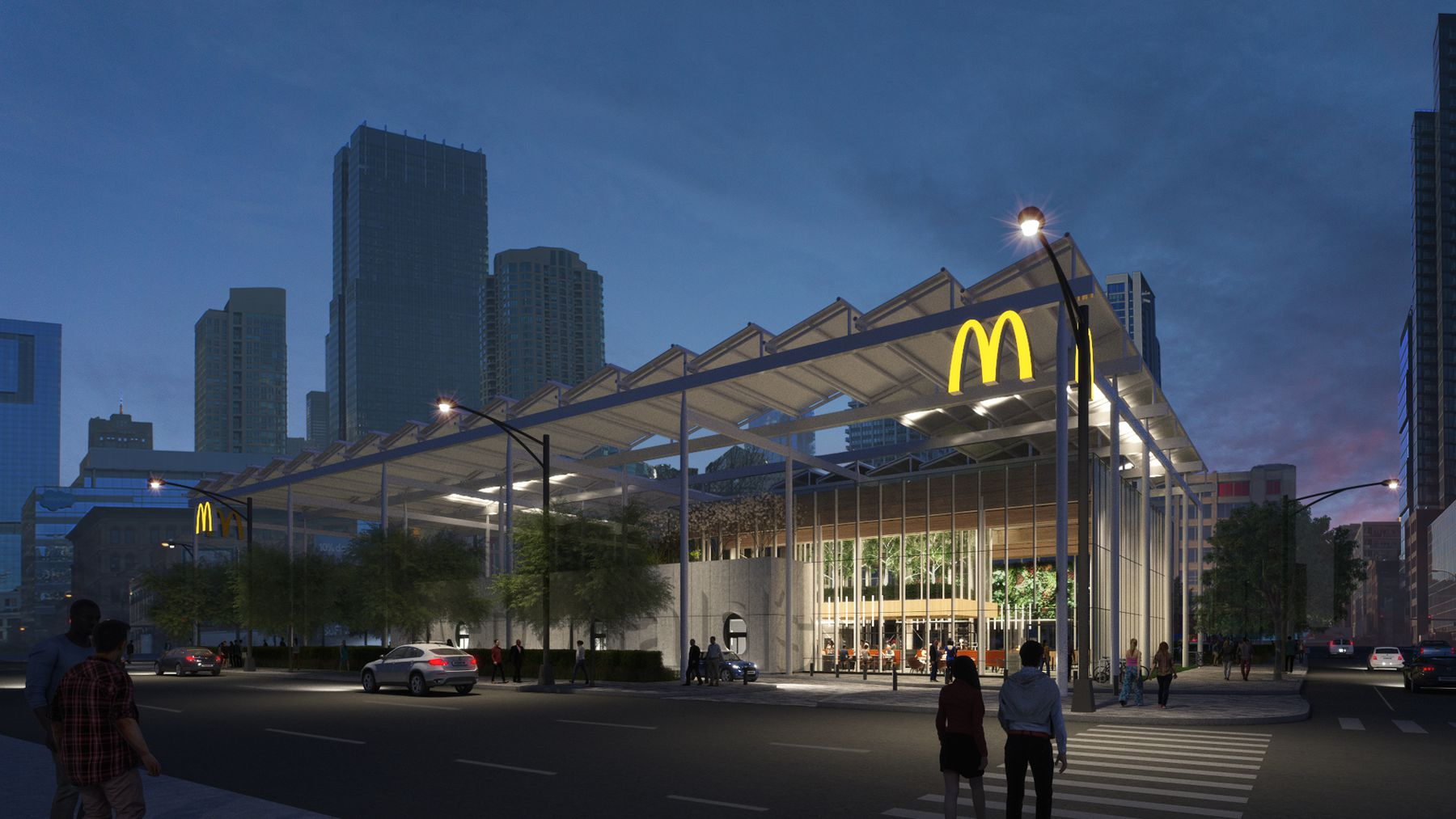 Rendering of McDonald's new River North location designed by Carol Ross Barney. (Source: McDonald's)