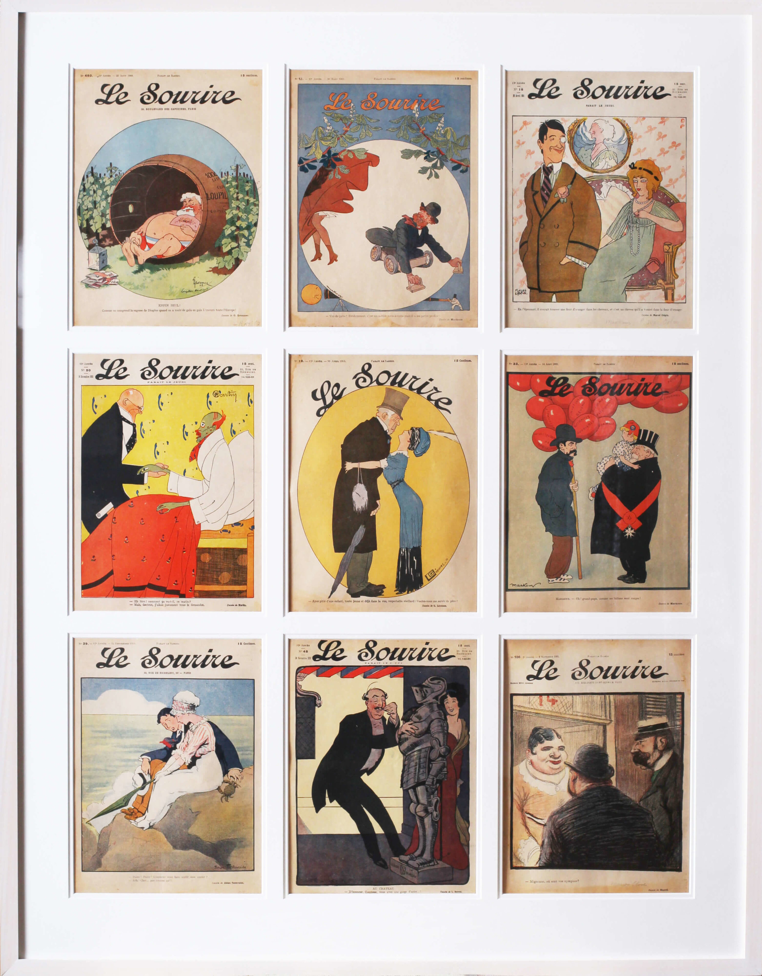 SET OF 9 ORIGINAL MAGAZINE COVERS FOR THE FRENCH BELLE EPOQUE PUBLICATION 'LE SOURIRE'  THESE ARE FROM 1901 – 1911 EDITION  114.3 X 89.2CM. (INCLUDING FRAME)  THERE IS A LITTLE BIT OF WATER STAINING TO THE UPPER LEFT AND THERE IS SLIGHT DIRT, OVERALL THE COLOURS ARE EXTREMELY STRONG.  THE PAPER REMAINS IN A SLIGHTLY FADED BUT AUTHENTIC STATE.   PRICE: £2000