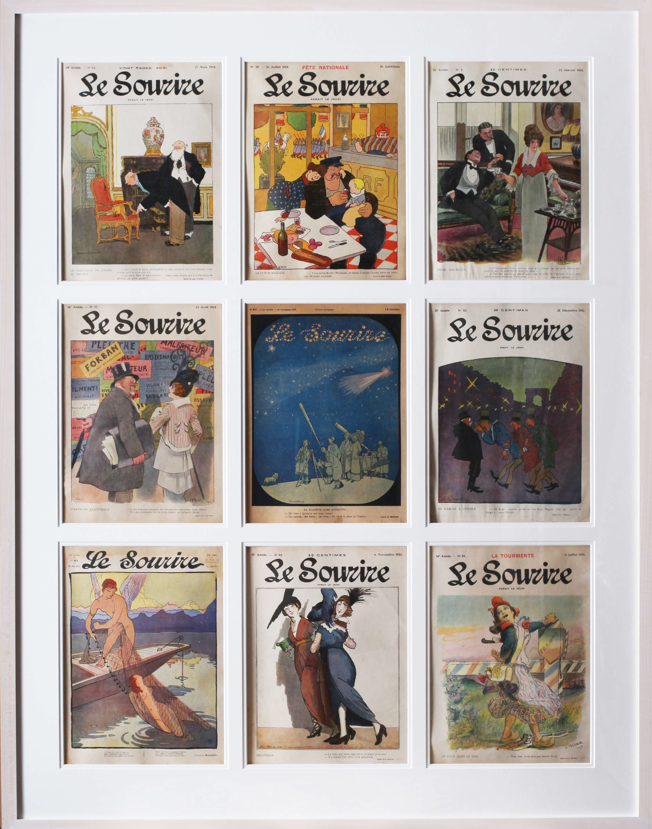 SET OF 9 ORIGINAL MAGAZINE COVERS FOR THE FRENCH BELLE EPOQUE PUBLICATION 'LE SOURIRE'  THESE ARE FROM 1909– 1914 EDITION  114.3 X 89.2CM. (INCLUDING FRAME)  THERE IS A LITTLE BIT OF WATER STAINING TO THE UPPER LEFT AND THERE IS SLIGHT DIRT, OVERALL THE COLOURS ARE EXTREMELY STRONG.  THE PAPER REMAINS IN A SLIGHTLY FADED BUT AUTHENTIC STATE.   PRICE: £2000