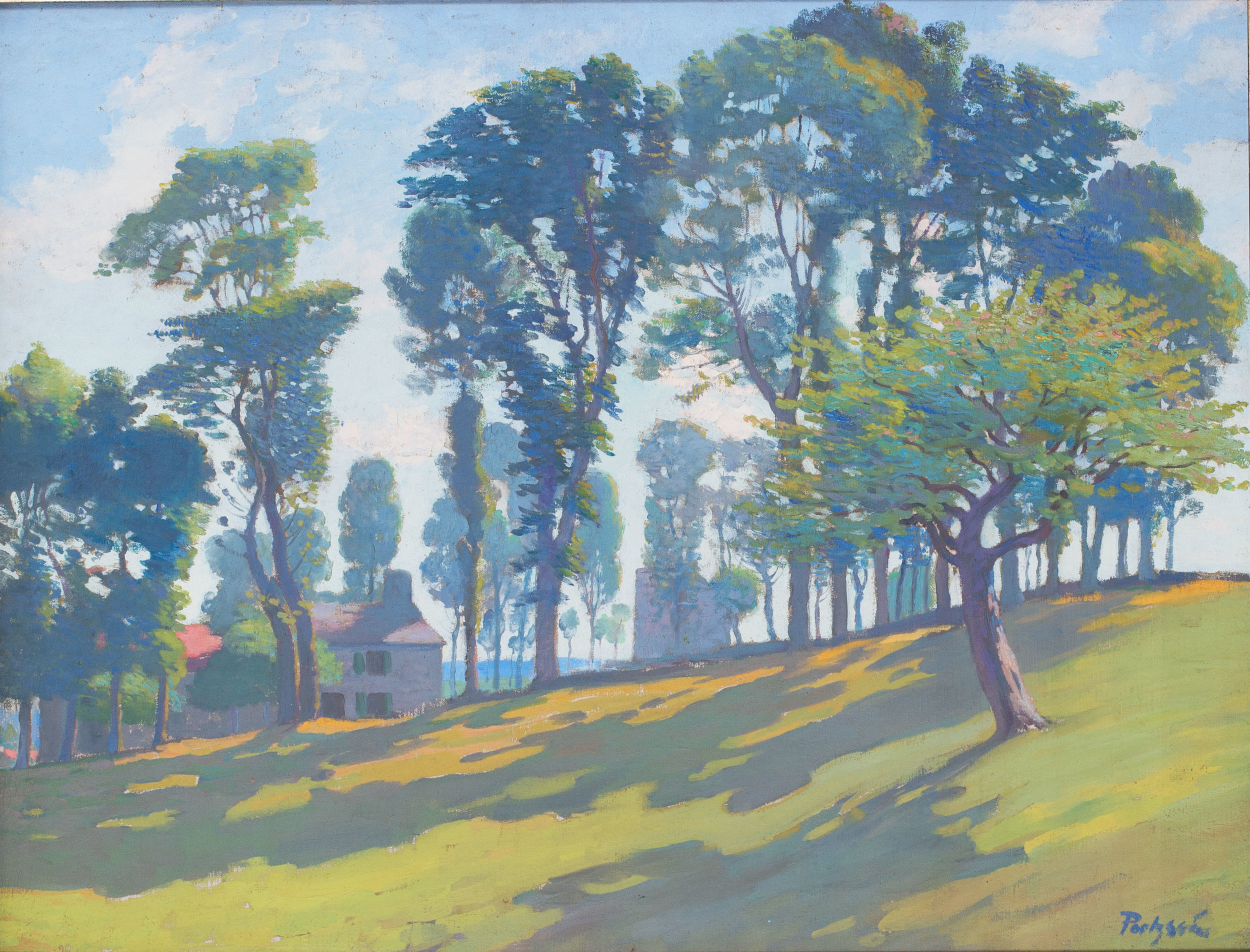 Gustave Poetzsch (Swiss, 1870- 1950)    Les arbres aux environs d'Yssingeaux    Oil on canvas Sigend 'Poetzch' (lower right) 30.3/4 x 25in. (78 x 63.5cm.) dimensions including frame  Condition: Oil on canvas, not relined. Good impasto, paint surface in good order. Good condition overall, In a silvered gilt frame.   Price: £3500