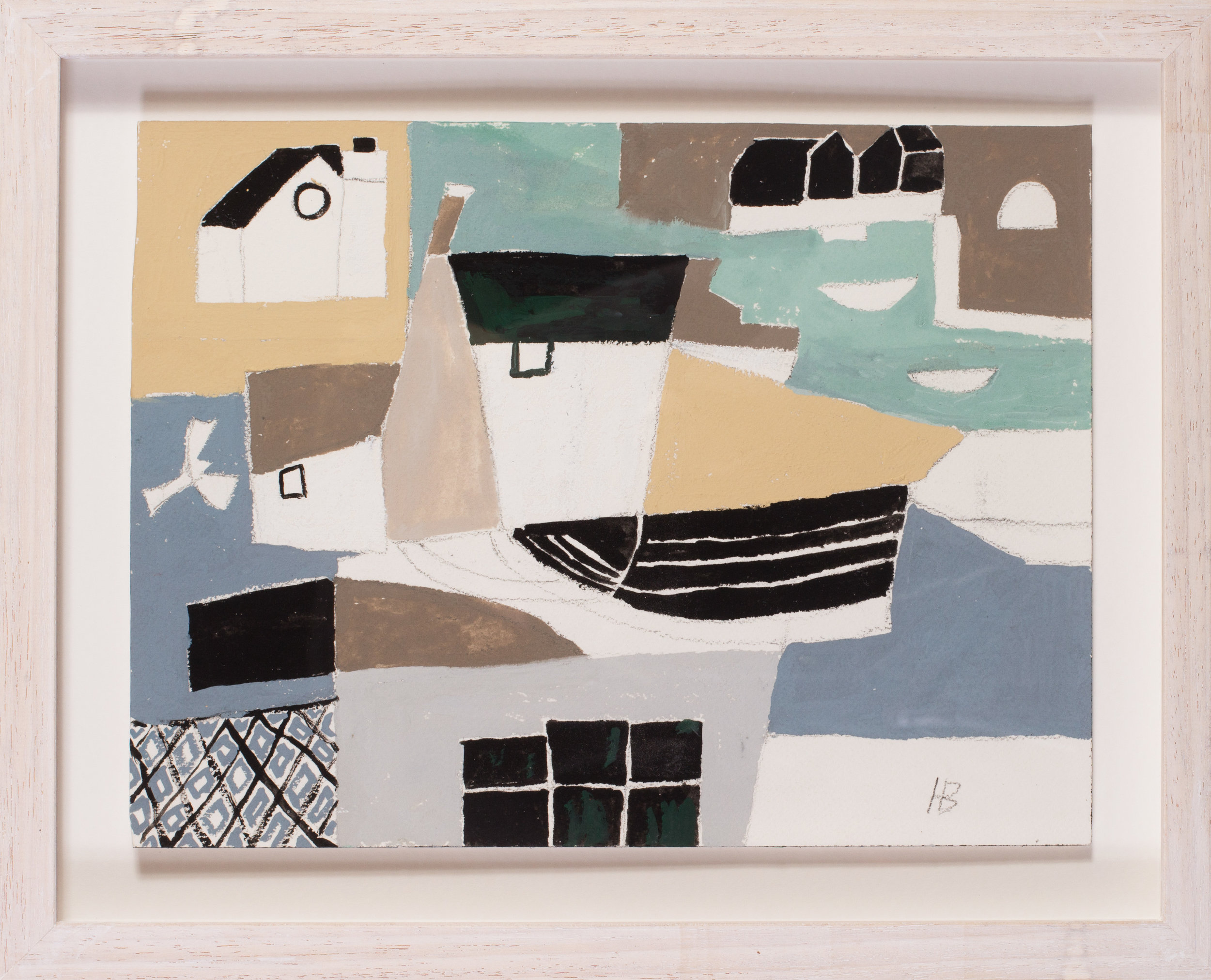 Heather Bray (Cornish, 20th / 21st Century)   Abstracted Cornish village   Gouache on card  Signed with initials 'HB' (Lower right)  9.1/2 x 12.1/2in. (24.2 x 31.7cm.)   SOLD