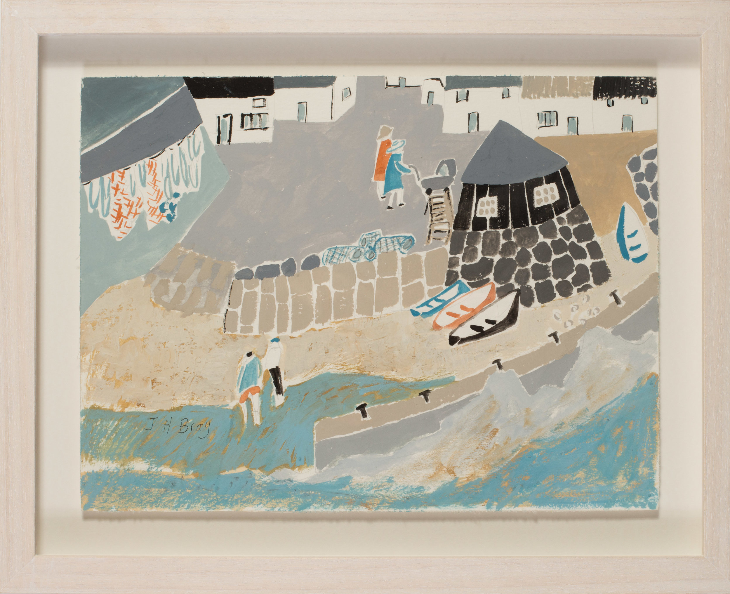 Heather Bray (Cornish, 20th / 21st Century)   Pushing prams near the harbour walls   Gouache on card  Signed 'J H Bray' (lower left)  9.1/4 x 12.5/8in. (23.5 x 32cm.)   SOLD