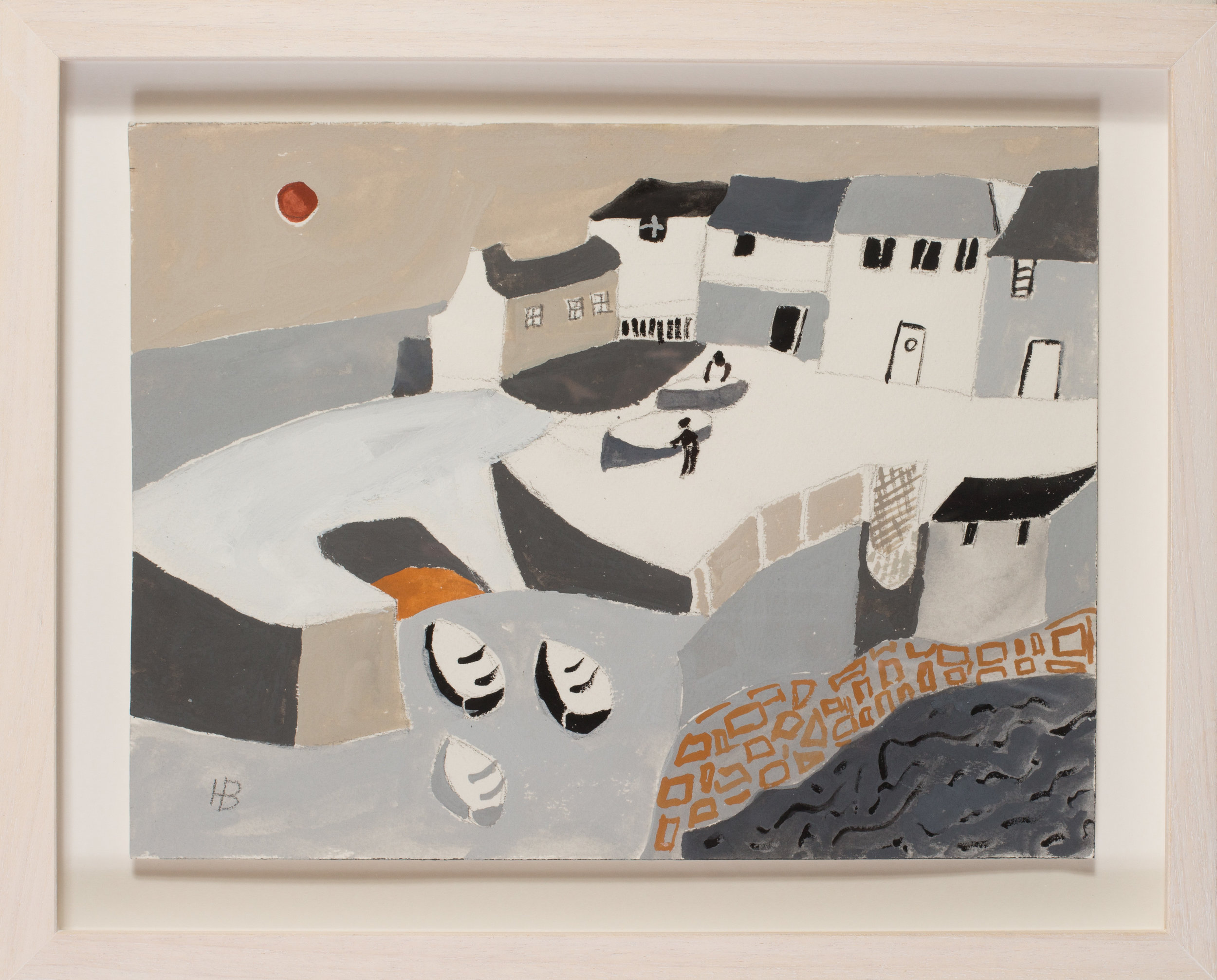 Heather Bray (Cornish, 20th / 21st Century)   Men tending to the their boats on the harbour walls   Gouache on card  Signed with initials HB (lower left)  9.1/2 x 12.3/4in. (24.2 x 32.5cm.)   SOLD