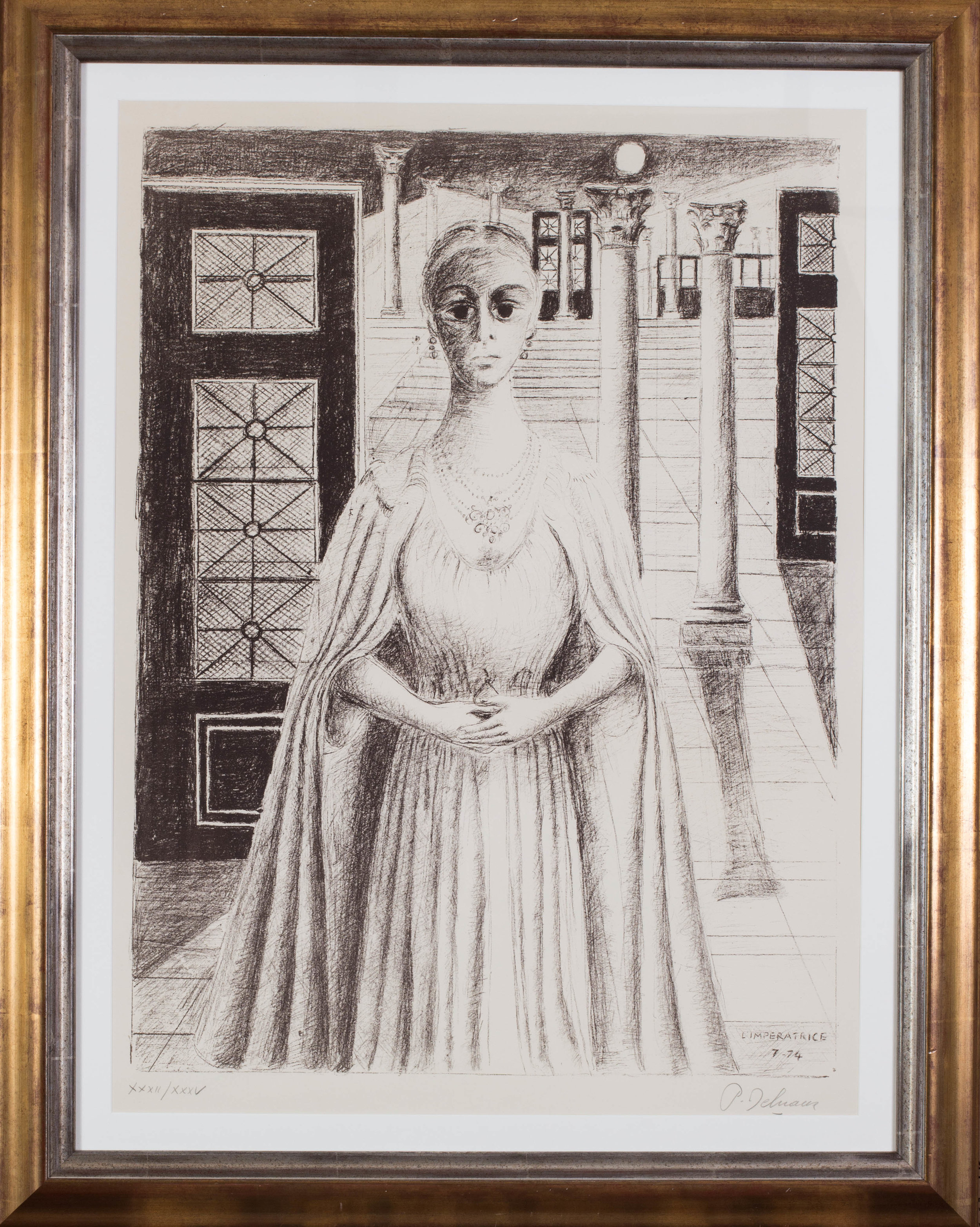Paul Delvaux (Belgian, 1897 – 1994)    L'Imperatrice   Inscribed L'IMPERATRICE/7-74' (in the plate), signed and numbered in pencil 'XXXII/XXXV' (lower left), 'P. Delvaux' (lower right)  Lithograph  33.1/2 x 24.3/4in. (85 x 63cm.) (measured to slip edge)   Price: £4,100