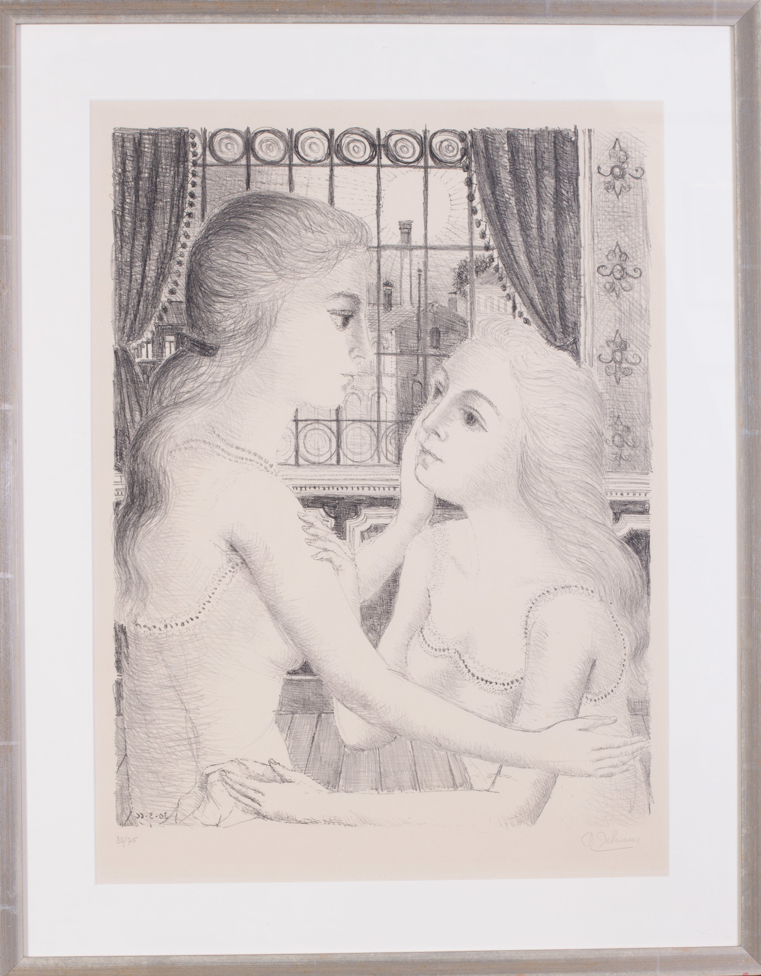 Paul Delvaux (Belgian, 1897 – 1994)    The Secret, 1966   Signed and numbered P. Delvaux 35/75 (lower right and left respectively)  Lithograph  28.1/4 x 21in. (71.7 x 53cm.) (to mount edge)   Price: £3,900