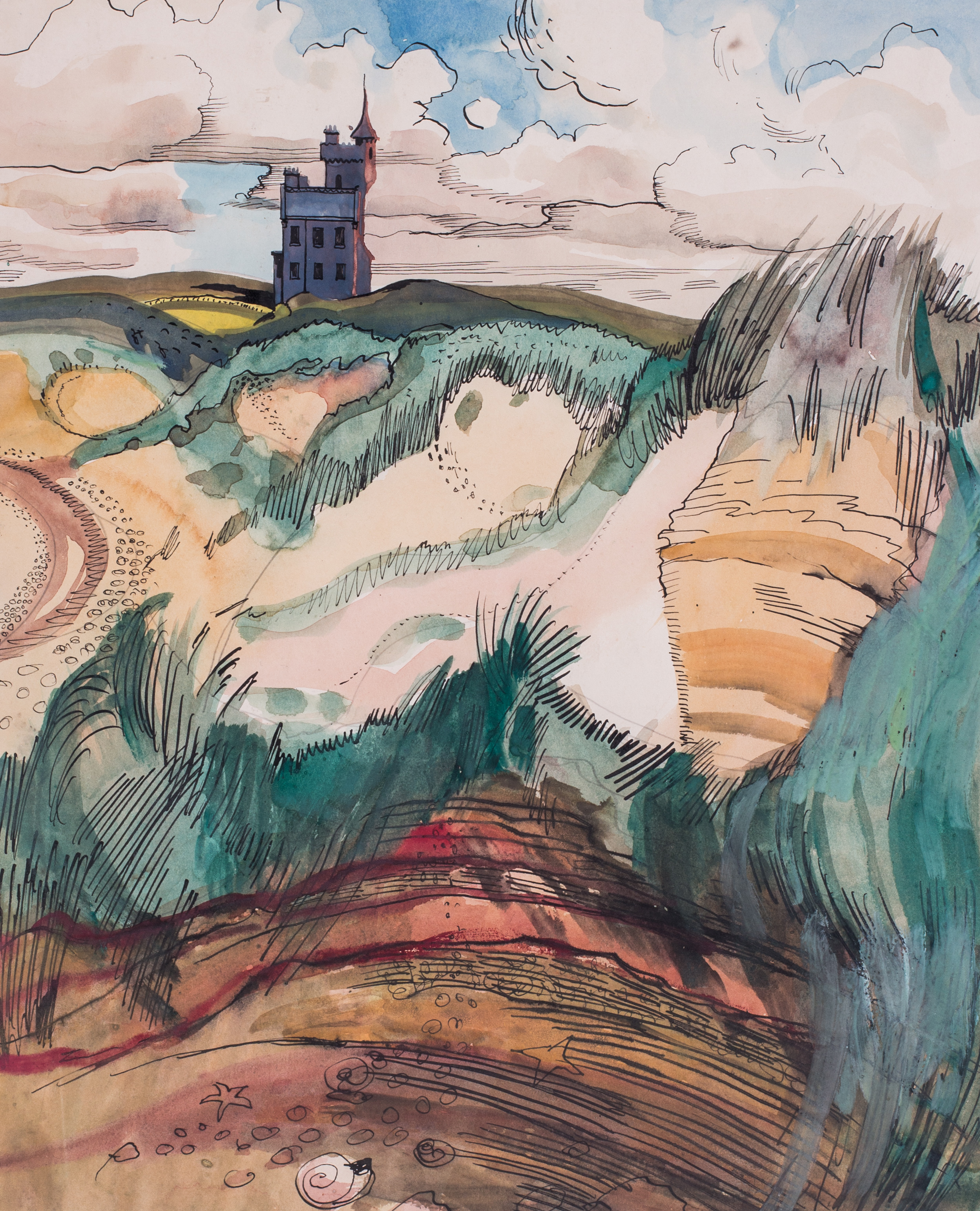 Robert Trenaman Back (British, 1922 - 2004)    A folly by the shore   Pen and ink and watercolour on paper  13 x 10.1/2in. (33 x 27cm.)   Price: £850