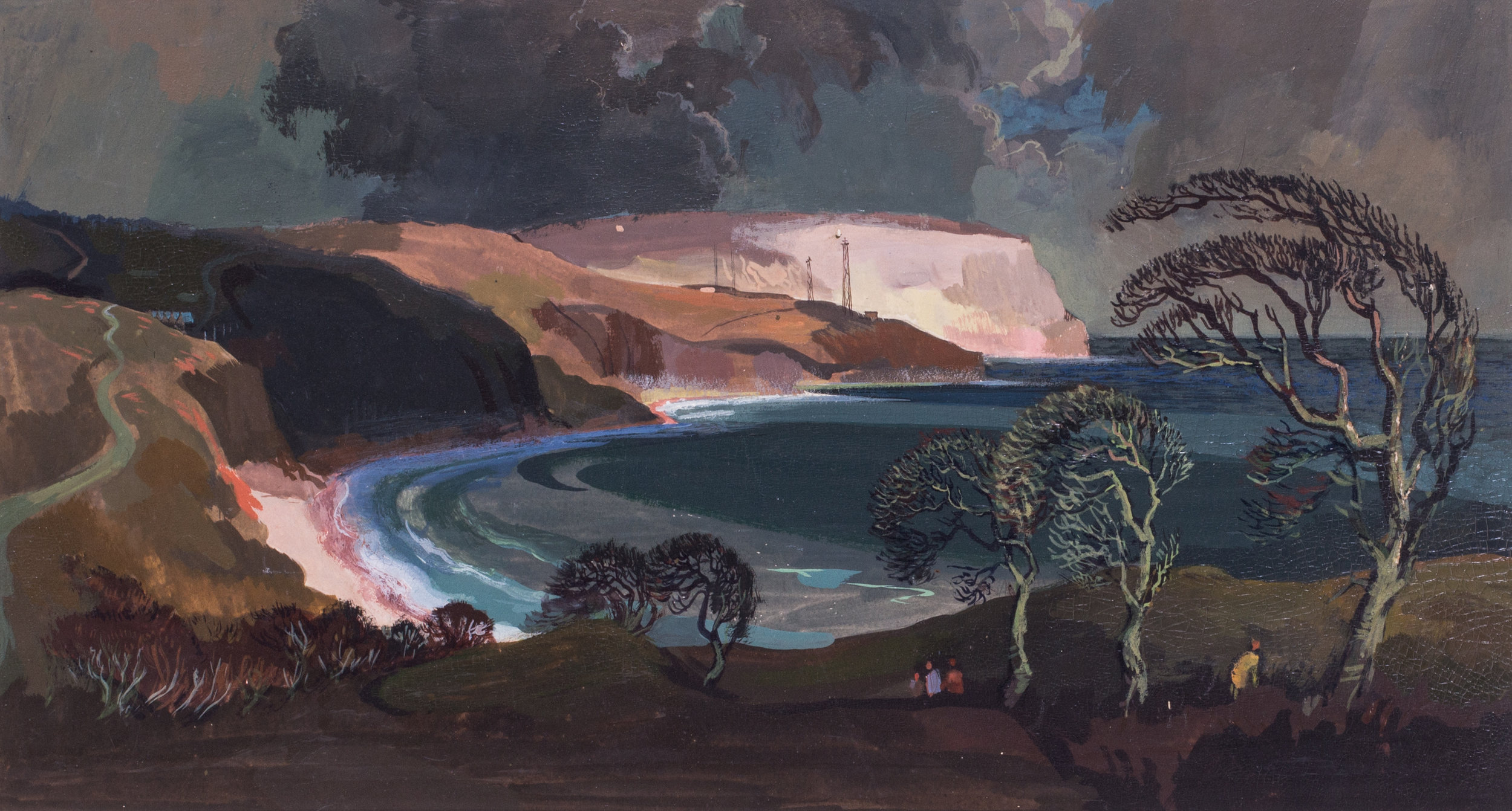 Robert Trenaman Back (British, 1922 – 2004)    A moody coastal scene   Gouache on paper with gum arabic  9.3/4 x 18.1/4 in. (24.5 x 46.5 cm.)   Price: £950