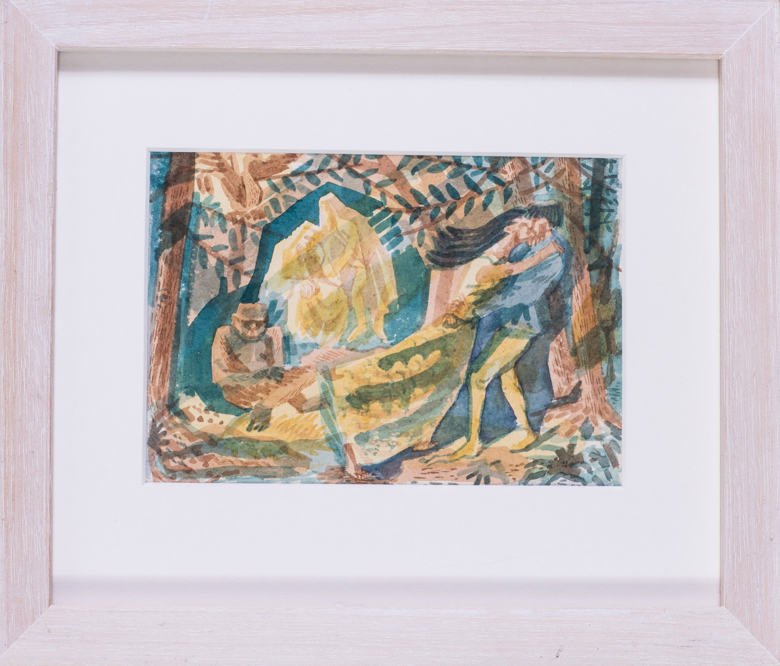 Alan J Tabrun (British, 20th Century)    Ferdinand and Miranda embrace (The Tempest), circa 1950   Watercolour on paper  4.1/2 x 6.1/2 in. (11.5 x 16.5cm.)   Price: £420