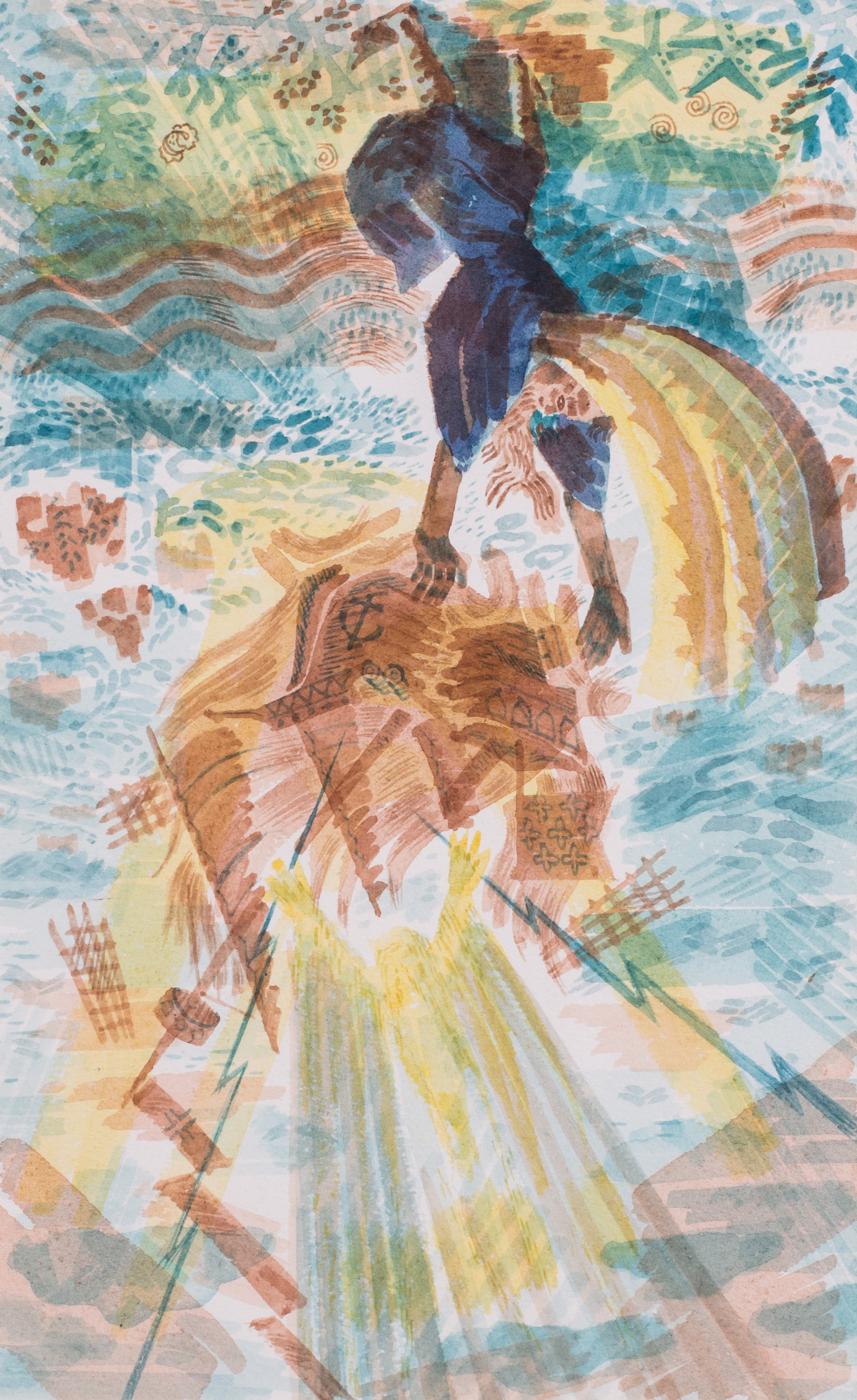 Alan J Tabrun (British, 20th Century)    Prospero dashes the ship on the rocks (The Tempest), circa 1950   Watercolour on paper  10.3/4 x 6.3/4 in. (27.3 x 17 cm.)   Price: £620