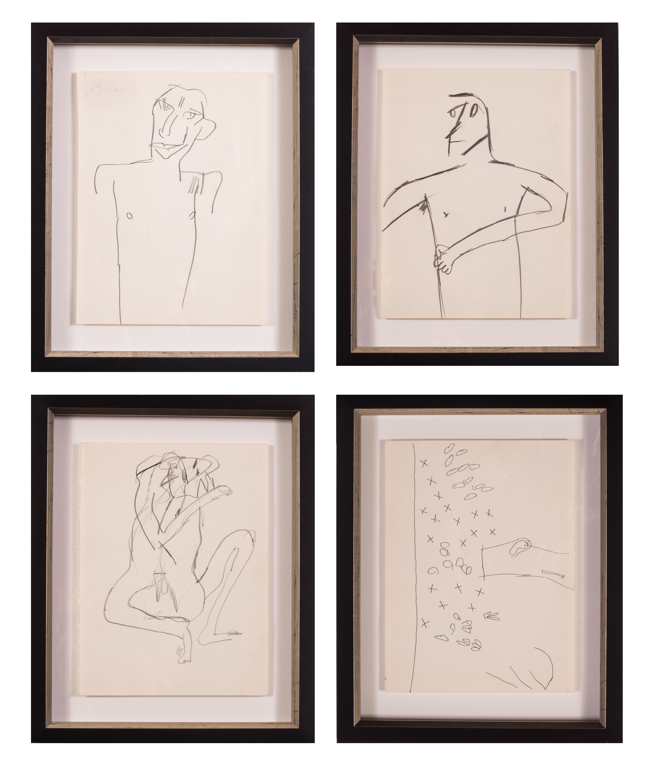 Keith Vaughan      Male figure; Figure in profile; A sexual encounter; and Noughts and Crosses     Price: £6,200