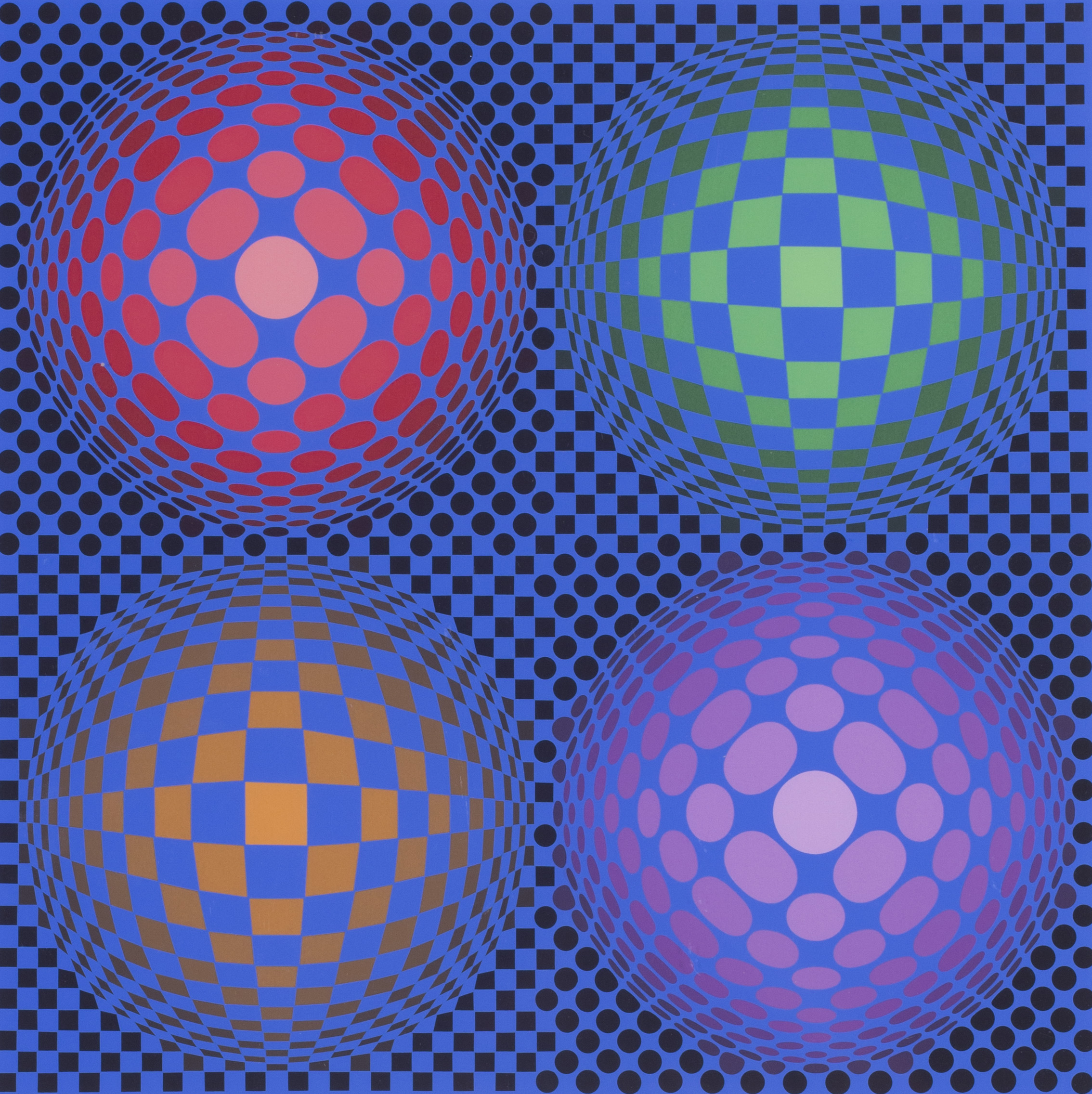 Victor Vasarely   4 spheres   Numbered 'F.V. 22/50' and signed 'Vasarely' (lower right)  Screen print  29.1/2 x 21.1/2 in (75 x 54.7 cm.)   SOLD