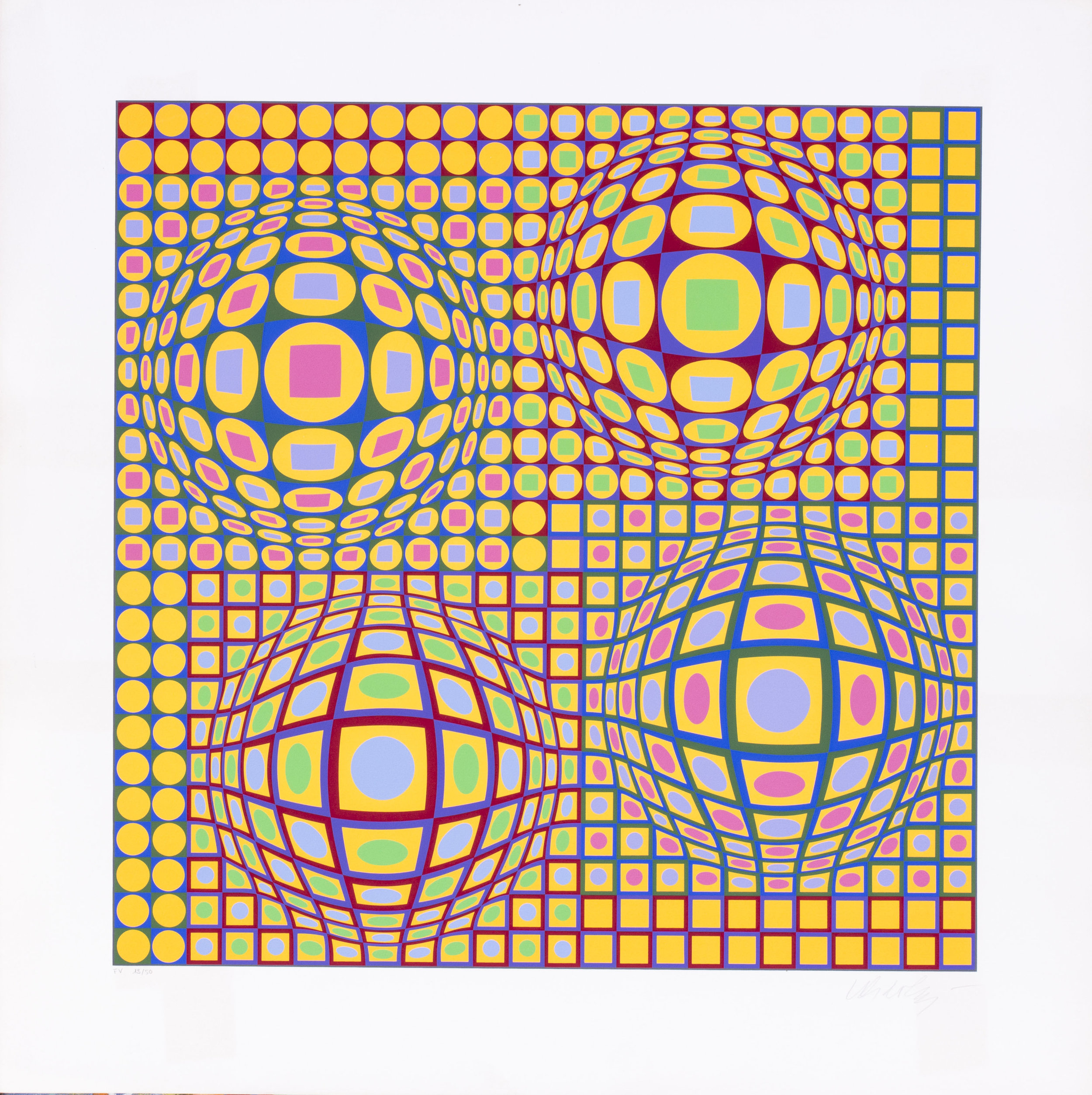 Victor Vasarely   Quadrature, 1976-1978   Numbered 'F.V. 13/50' and signed 'Vasarely' (lower right)  Screen print  13.3/4 x 13.3/4 in. (78 x 78 cm.)   SOLD