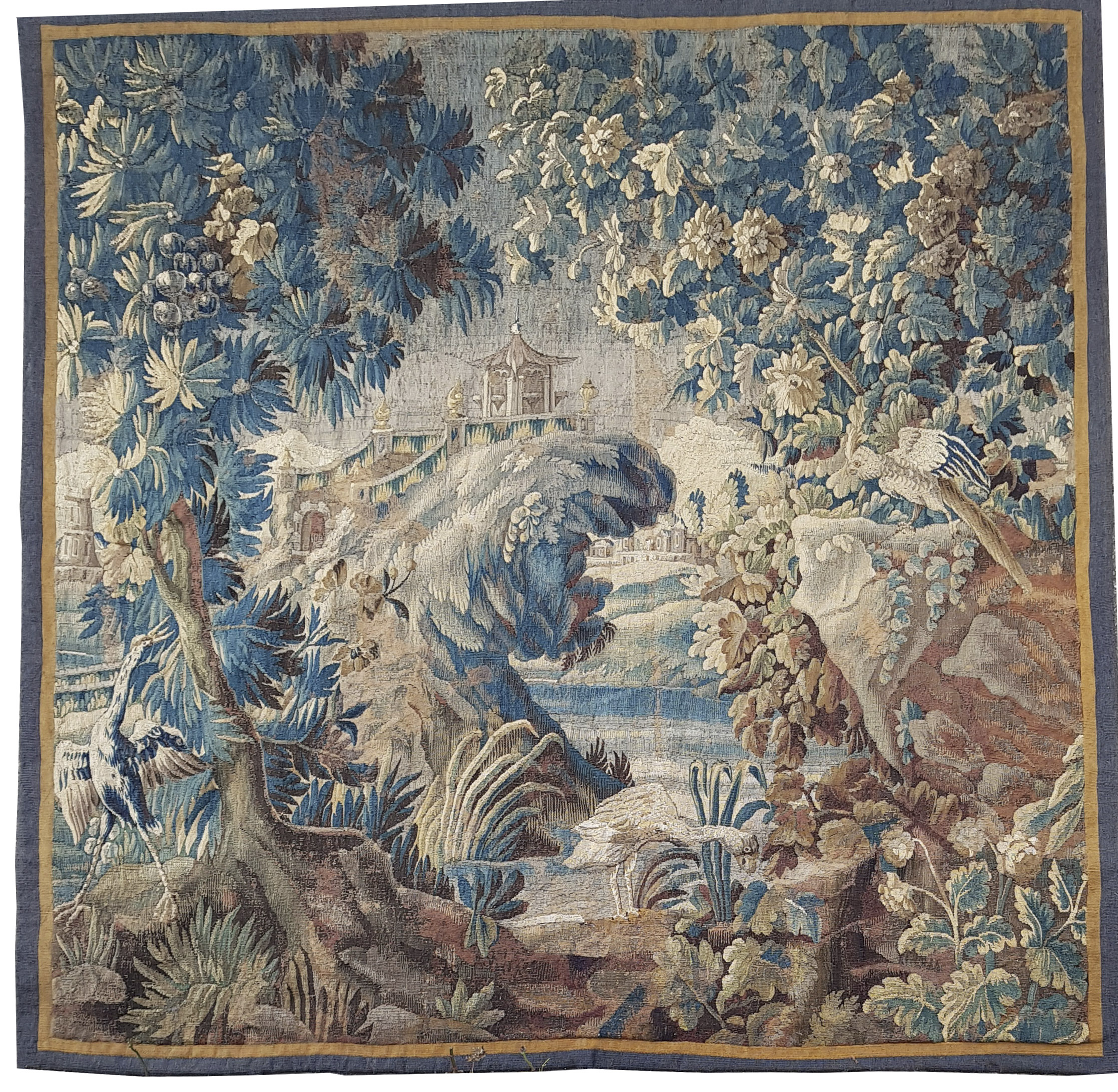 An 18th Century Aubusson Tapestry Landscape with oriental pavilion and birds     Price: £8,300