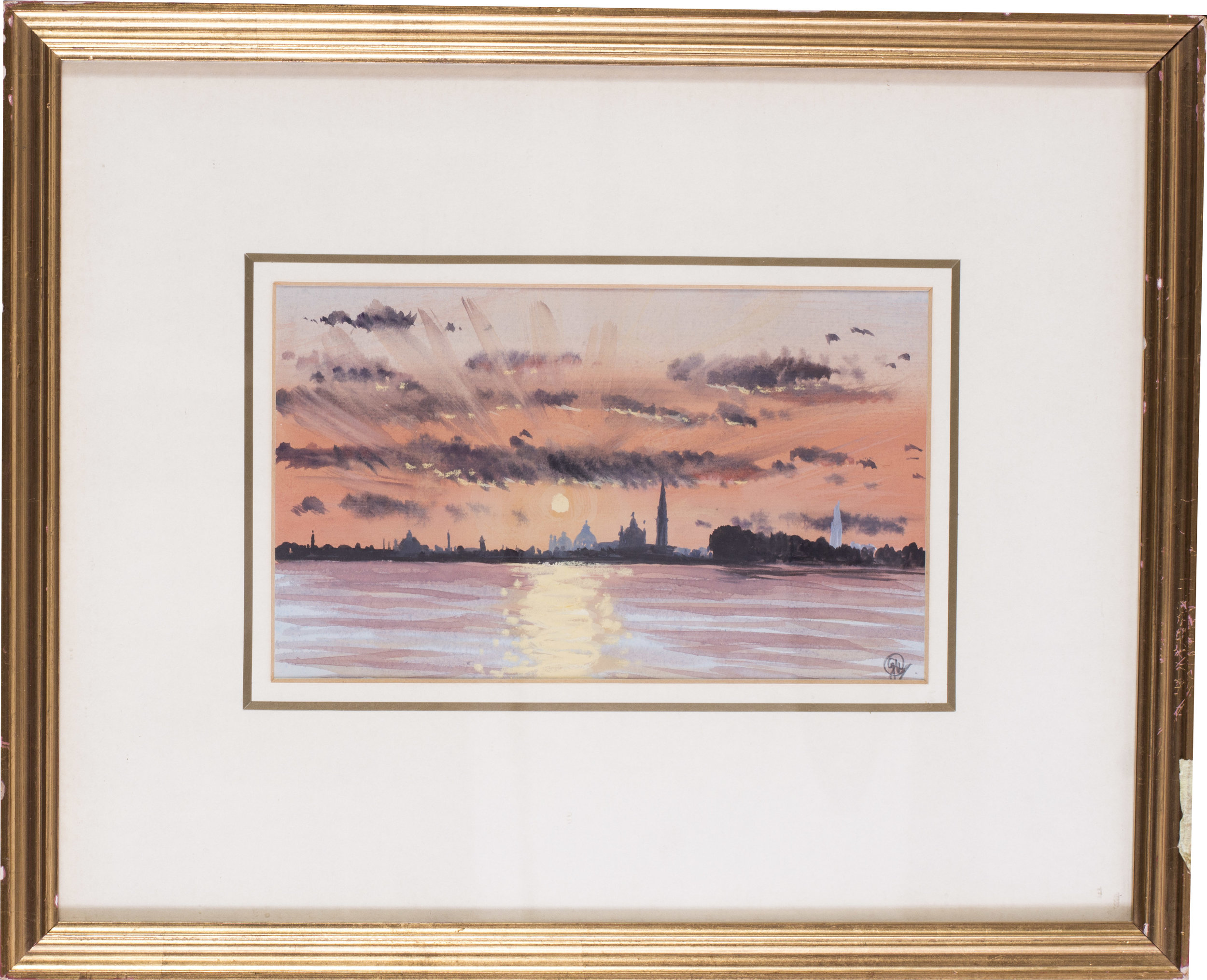 Sunset, Venice from the Lido , 1986   Acrylic and watercolour on paper   Signed with monogrammed (lower right)   6 x 10 in. (15.3 x 25.4 cm.)   Provenance: The Catto Gallery, London   Price: £400
