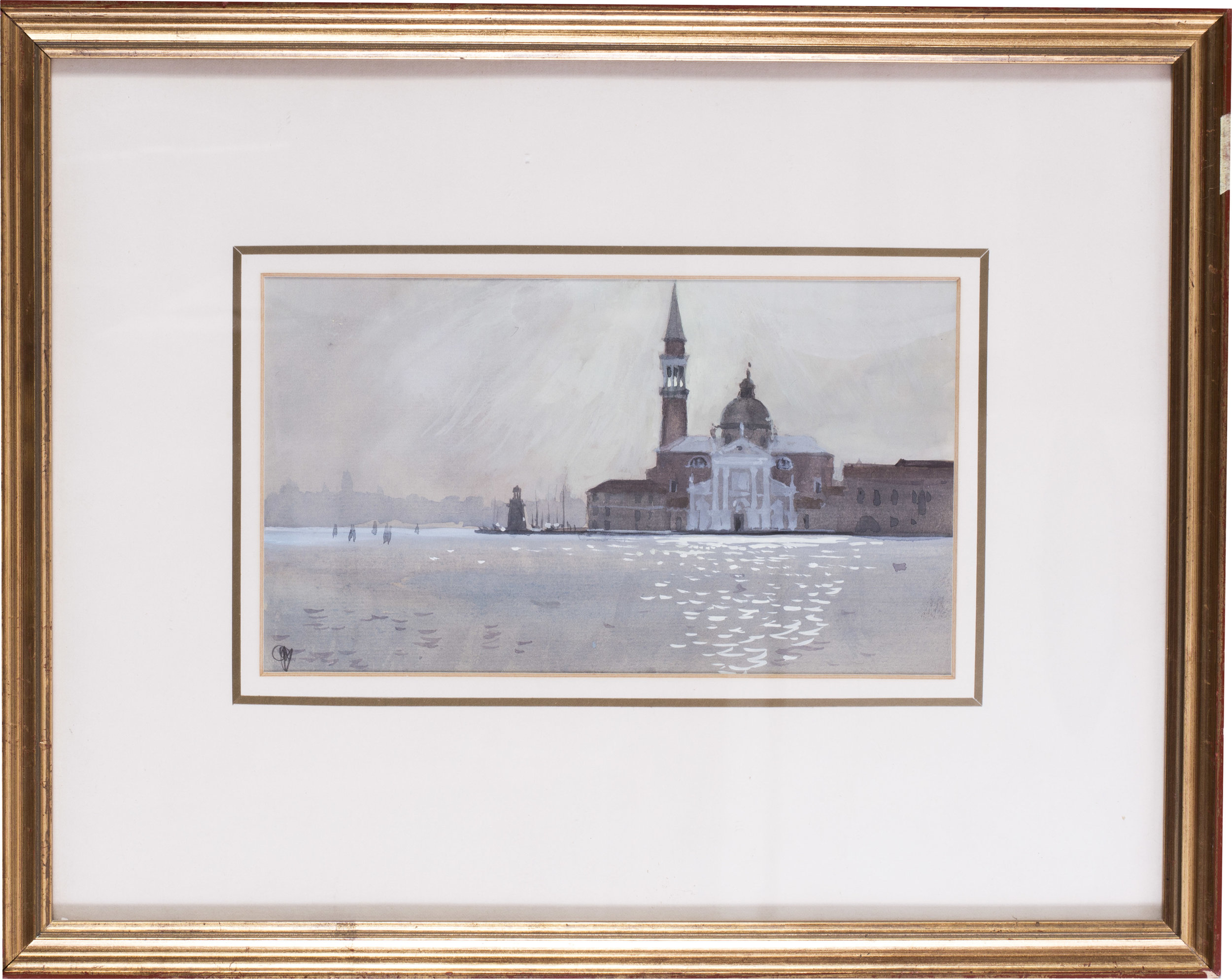 Sunrise through mist, San Giorgio, Venice,  circa 1986   Acrylic and watercolour on paper   Monogrammed (lower left) and further signed on the reverse   5.1/4 x 9.1/4 in. (13.5 x 23.5 cm.)   Provenance: The Catto Gallery, London   Price: £500
