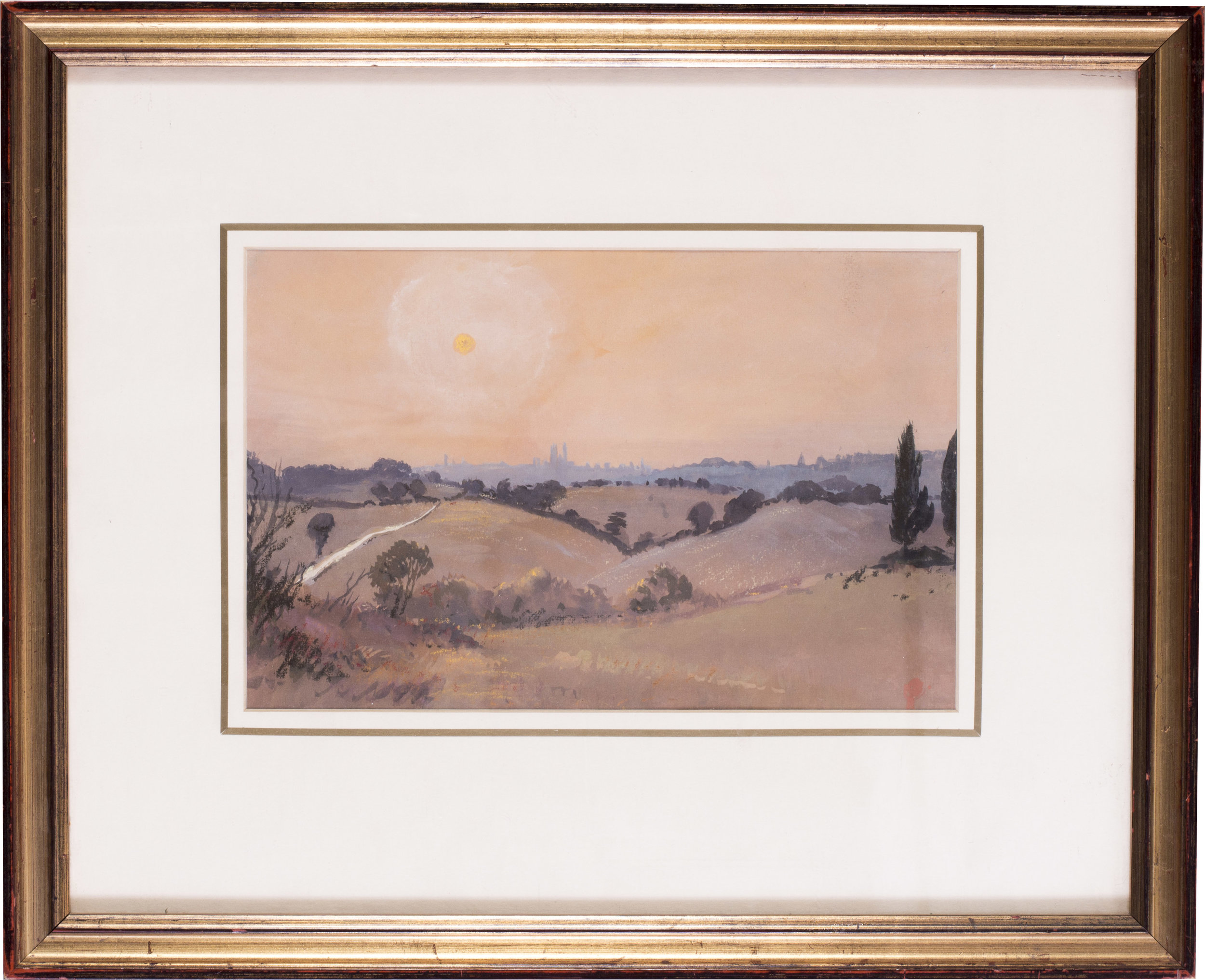 Sunset, Sienna , circa 1986   Acrylic and watercolour on paper   7.3/8 x 11.1/2 in. (18.8 x 29.5 cm.)   Provenance: The Catto Gallery, London   Price: £400
