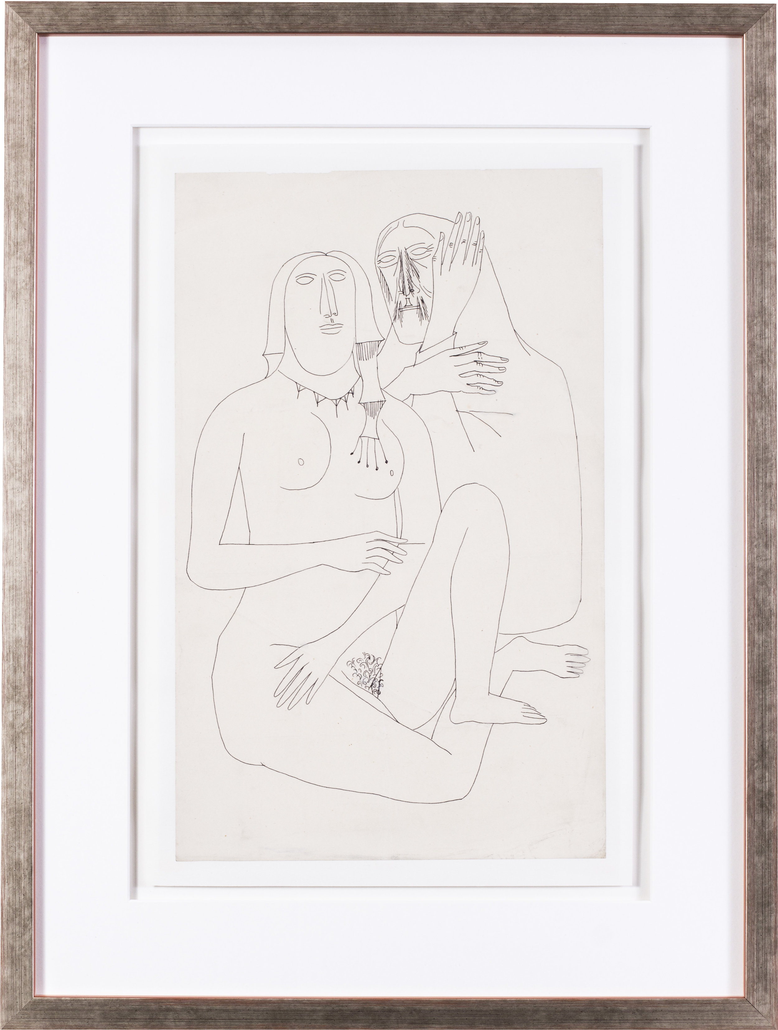 Lovers   Pen on paper  15.3/4 x 9.7/8 in. (40 x 25 cm.)  Provenance: The artist's wife Maria, Nee Figueiredo, gifted to her nephew   £3,100