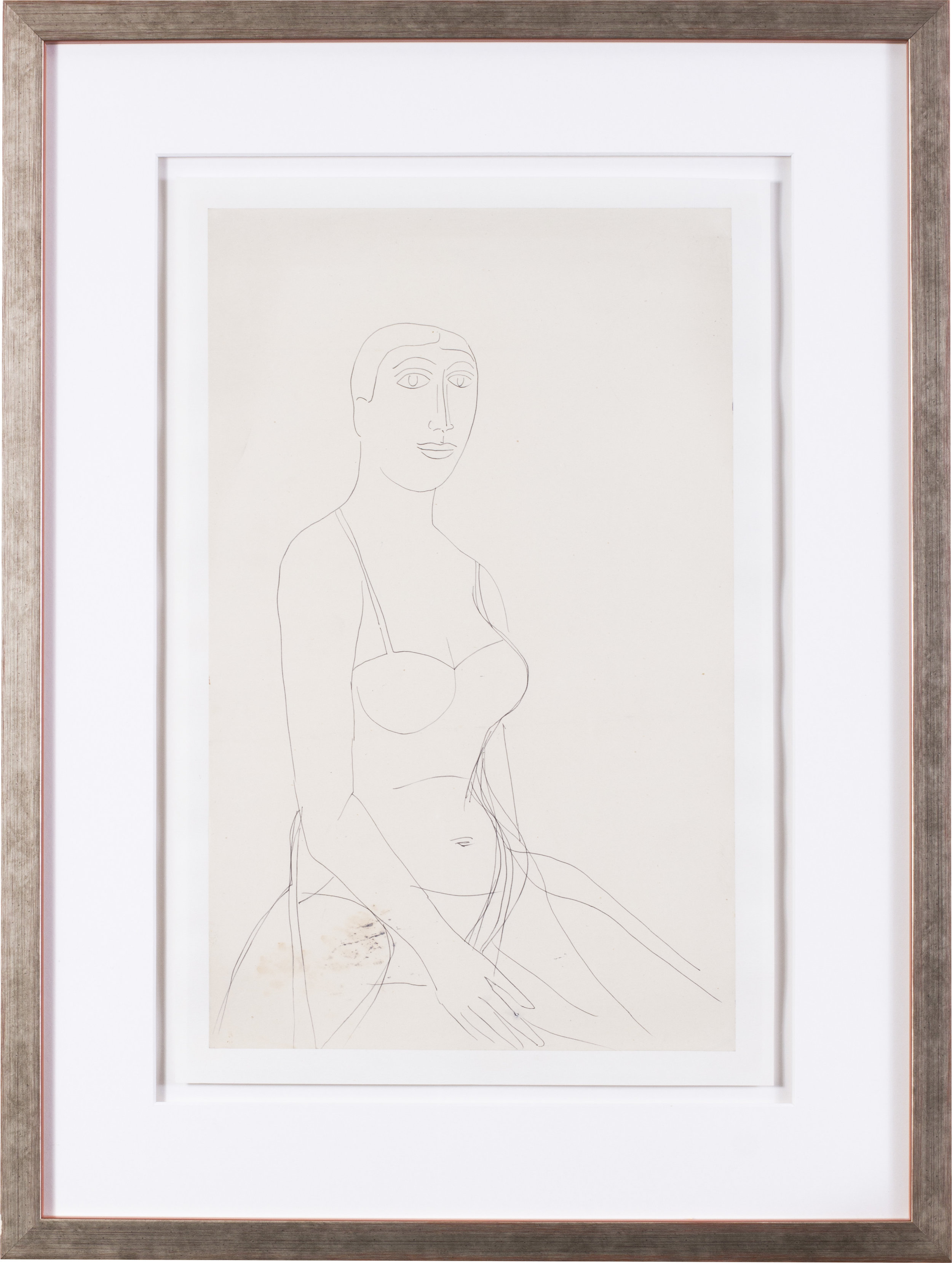 The artist's model   Pen on paper  15.3/4 x 9.7/8 in. (40 x 25 cm.)  Provenance: The artist's wife Maria, Nee Figueiredo, gifted to her nephew   £2,800