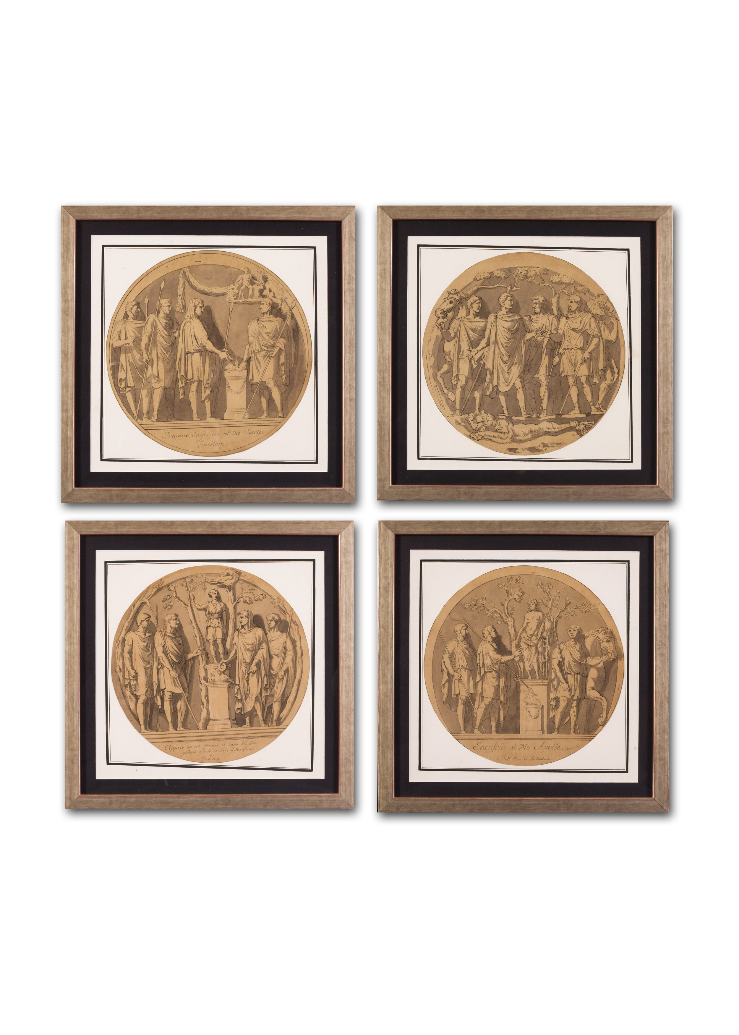 Italian School, 18th / 19th Century      A set of 8 classical studies of reliefs from the Arch of Constantine, Rome     Price: £5,200