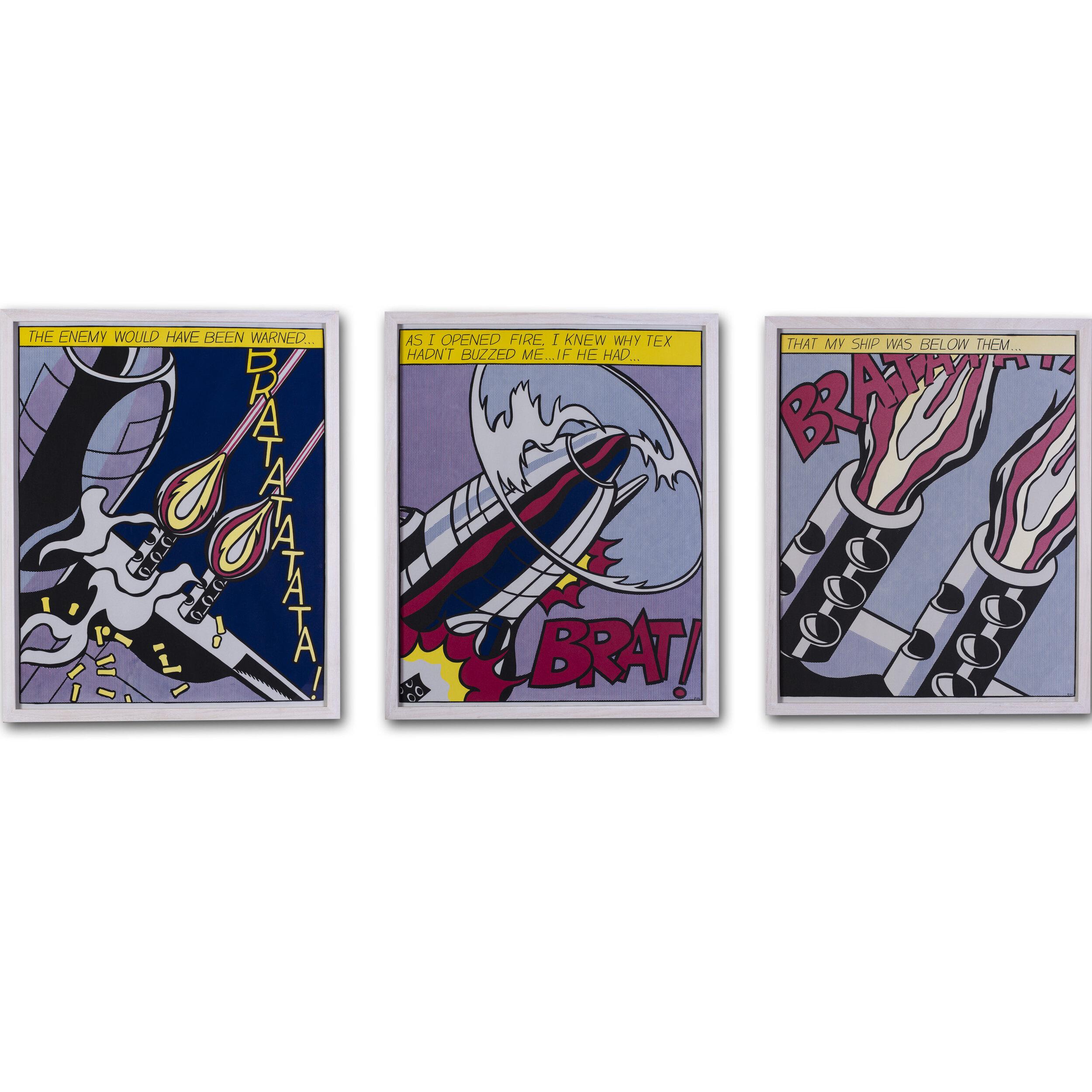 Roy Lichtenstein     As I opened fire    (set of 3)    Price: £5,200