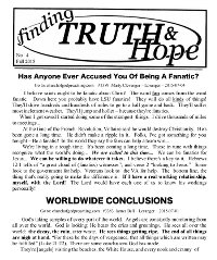 Finding Truth and Hope: Issue #4 (Fall 2015)
