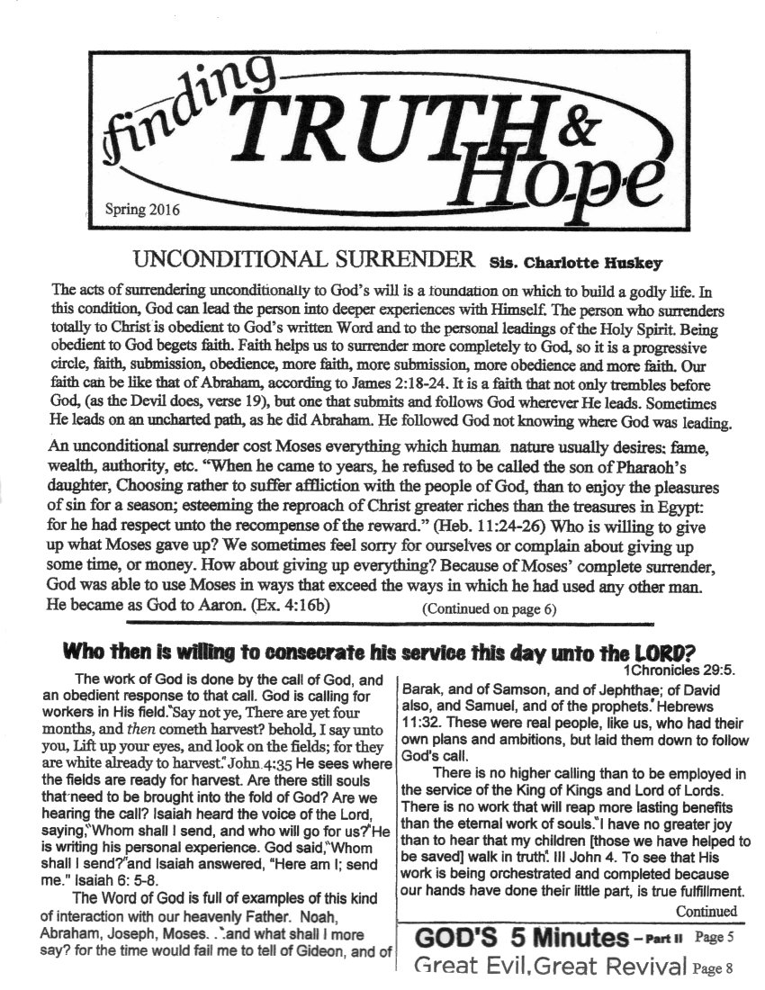 Finding Truth and Hope: Issue #5 (Spring 2016)