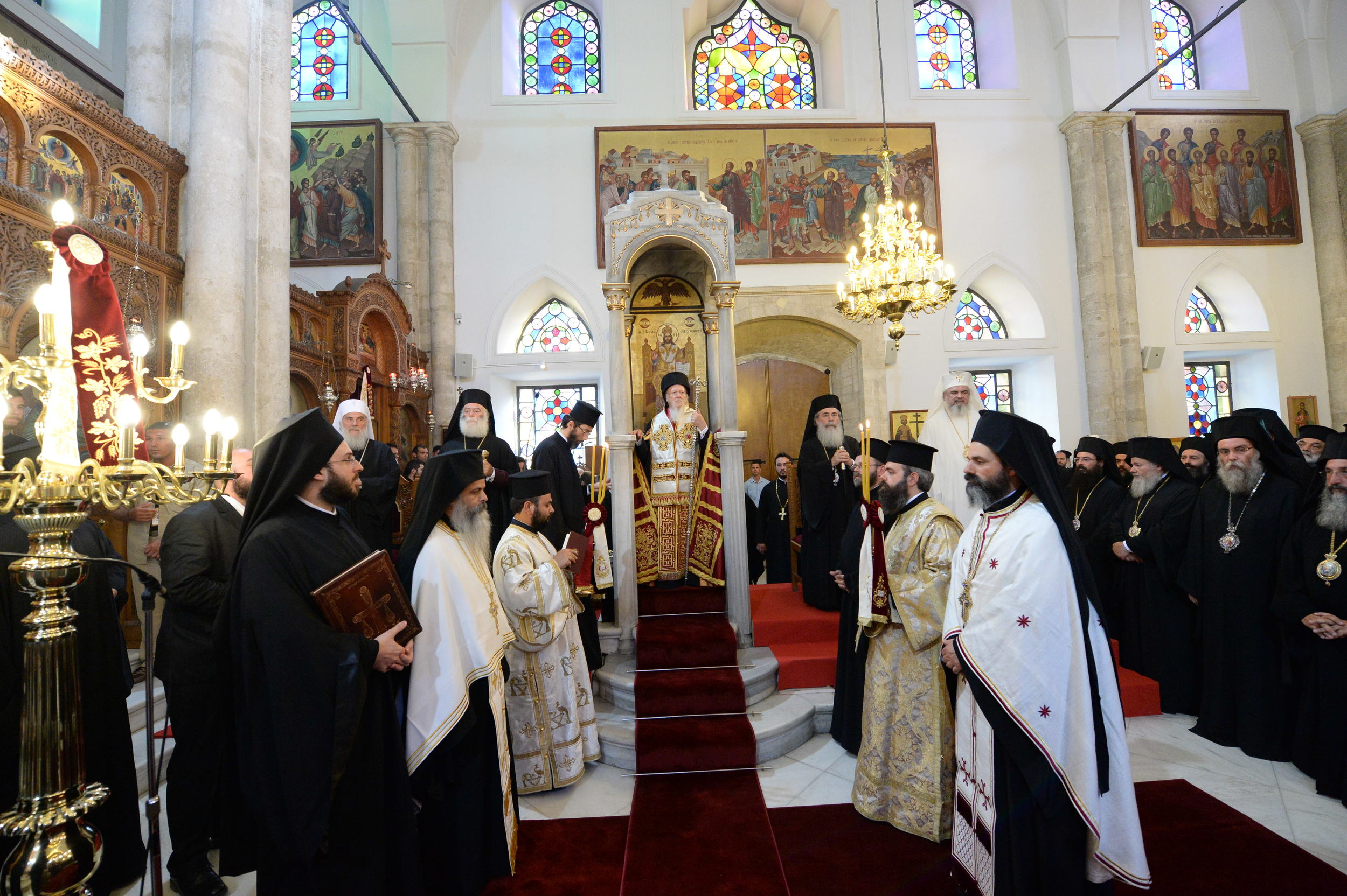 His All-Holiness Ecumenical Patriarch Bartholomew presides over the Doxology and Vespers of Pentecost at the Church of St. Titus in Heraklion, Crete. PHOTOS: Copyright: John Mindala.