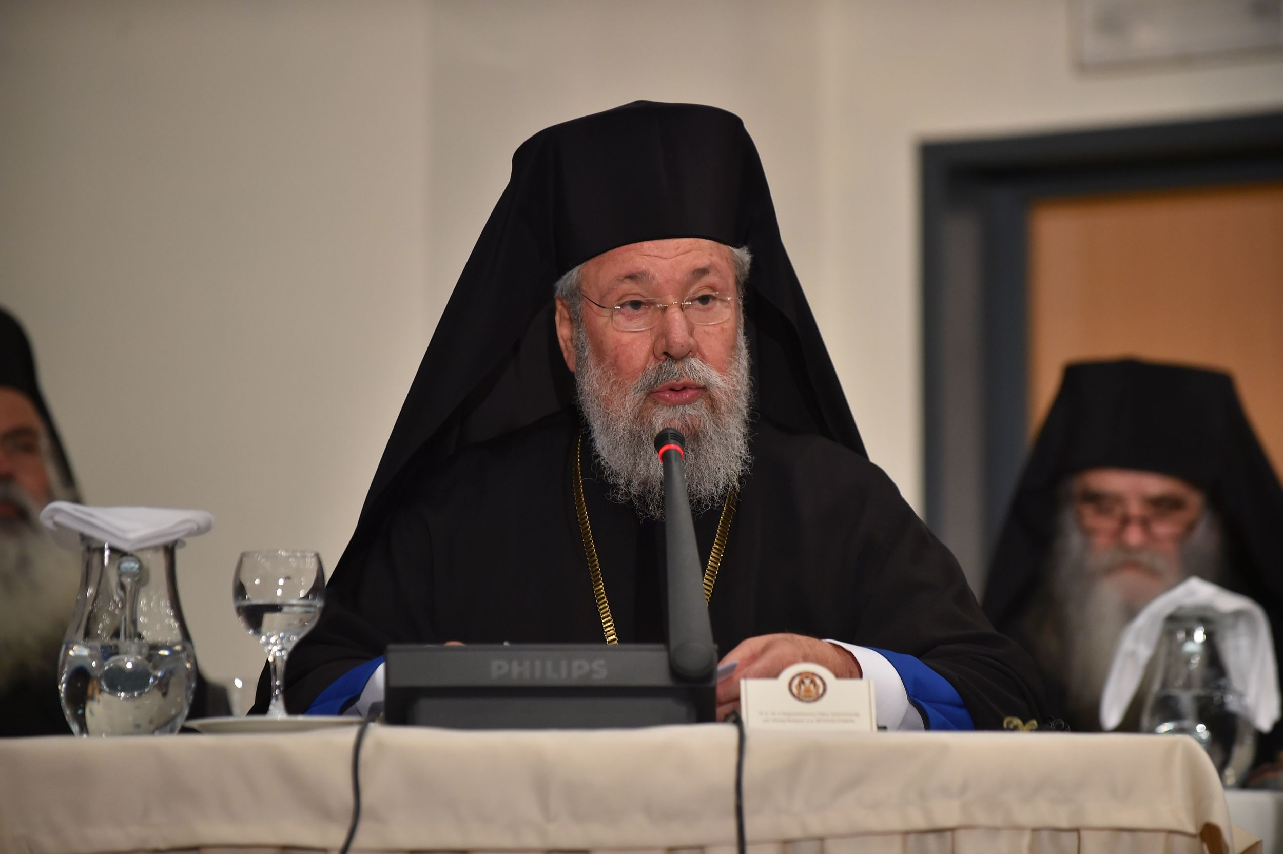 His Beatitude Archbishop Chrysostomos of Cyprus participates in the Opening Session of the Holy and Great Council of the Orthodox Church at the Orthodox Academy of Crete. PHOTO: © ROMANIAN ORTHODOX CHURCH/ROBERT NICOLAE.