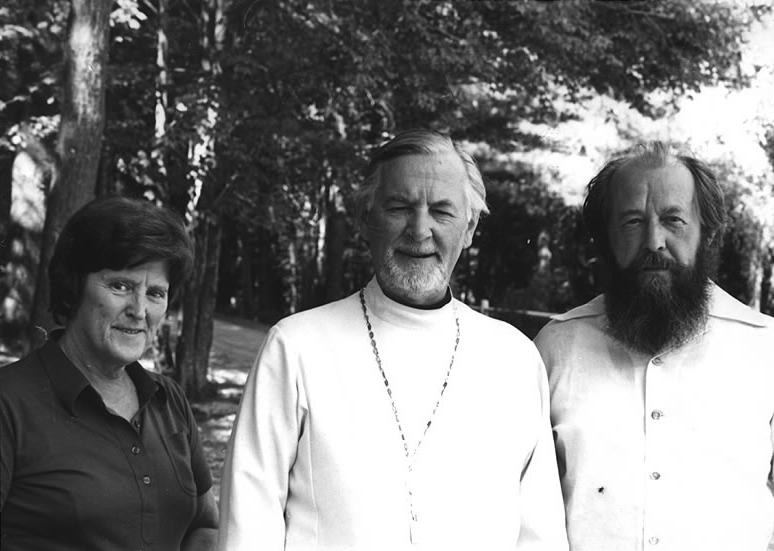 Father Alexander (center) with Matushka Juliana (left) and Alexander Solzhenitsyn (right), winner of a Nobel Prize for Literature.