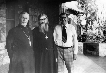 Father Alexander (left) with (now) Metropolitan Kallistos Ware (center) and Dr David Drillock (right).