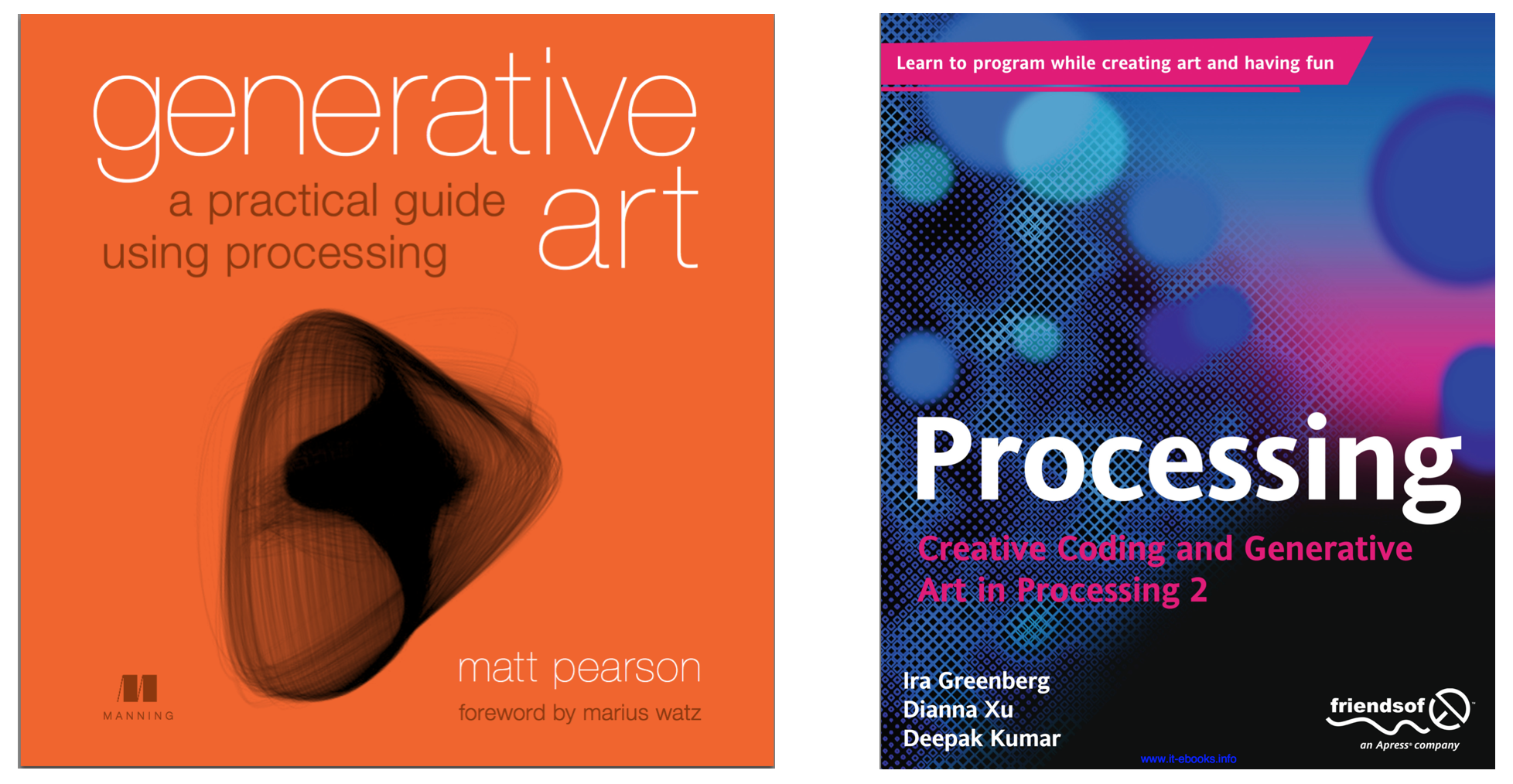 Book covers of 'Generative Art: a practical guide using processing'  and 'Processing: Creative Coding and Generative Art in Processing 2'
