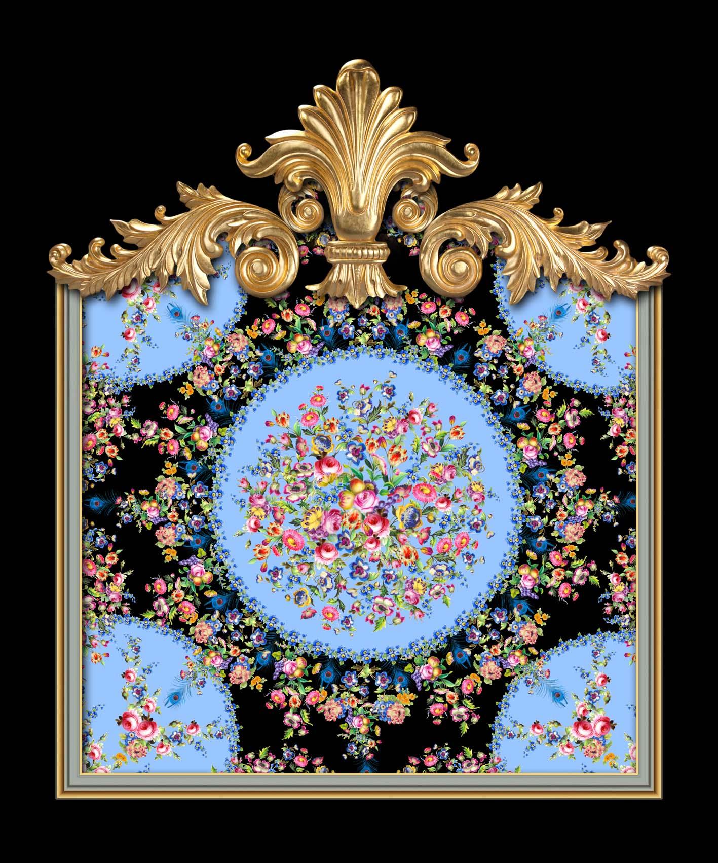 Versailles Floral Sevres in Black & Blue