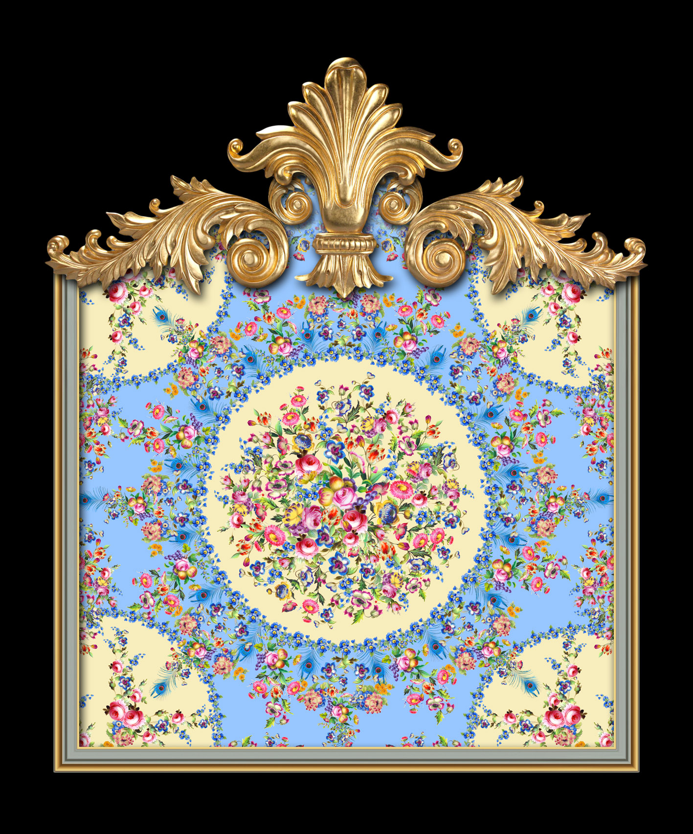 Versailles Floral Sevres in Duck Egg Blue & Yellow