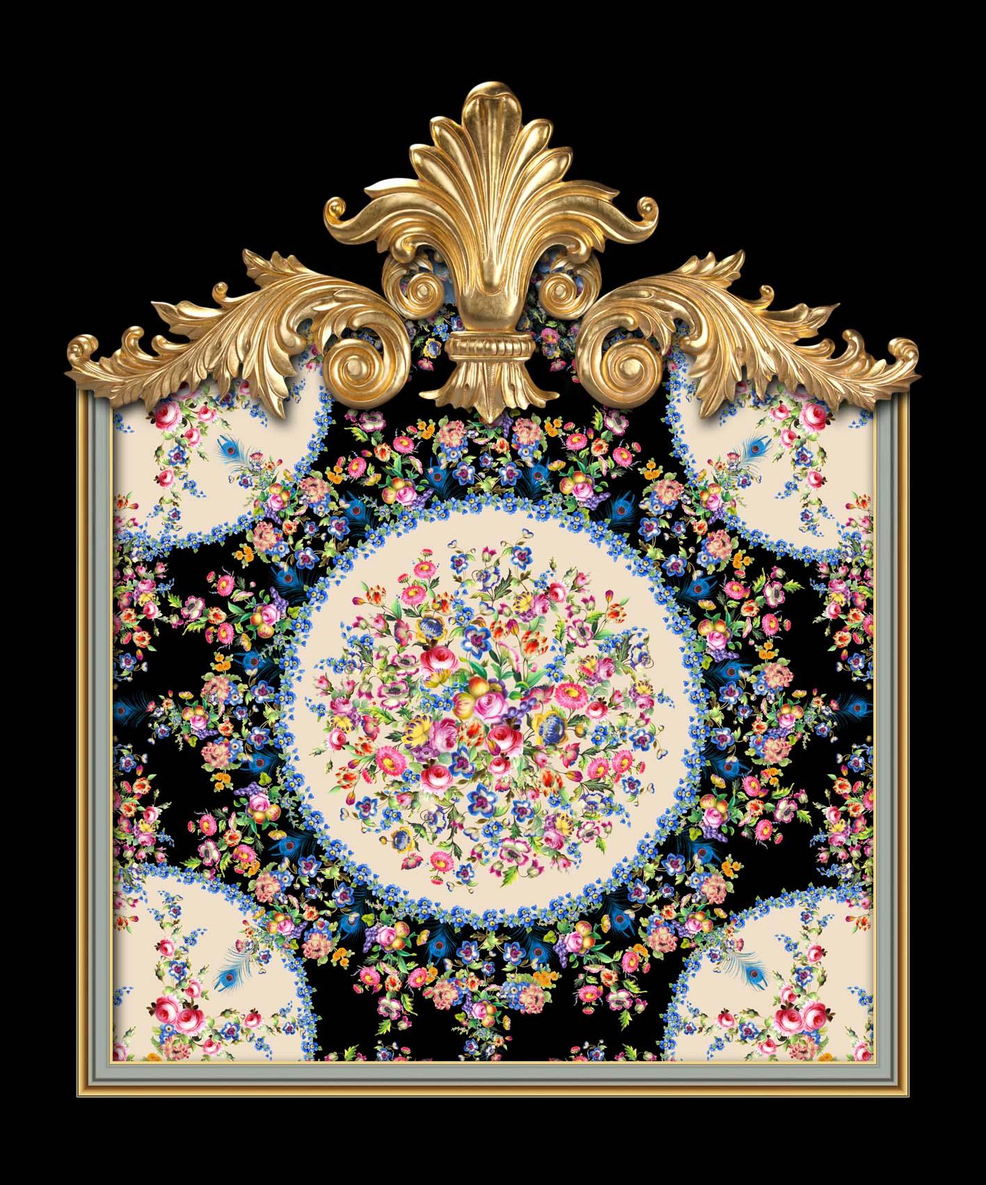 Versailles Floral Sevres in Black & Hazelnut Cream