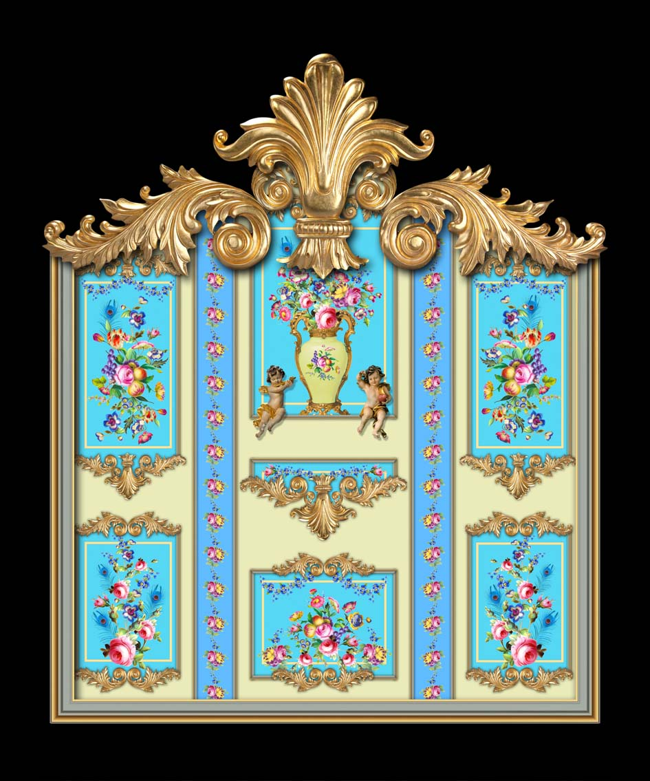 Versailles in Yellow in Turquoise