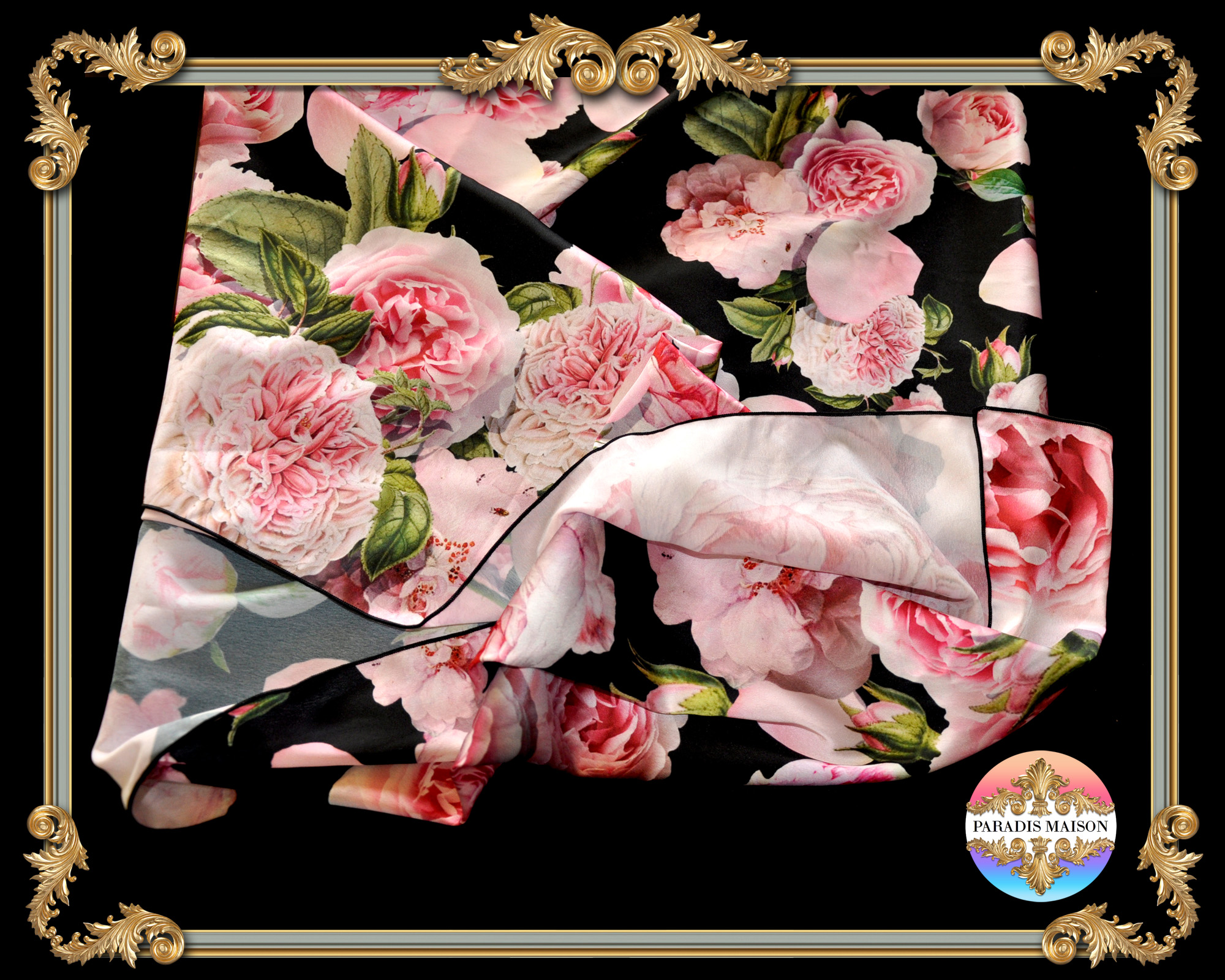 pink peony black silk scarf online